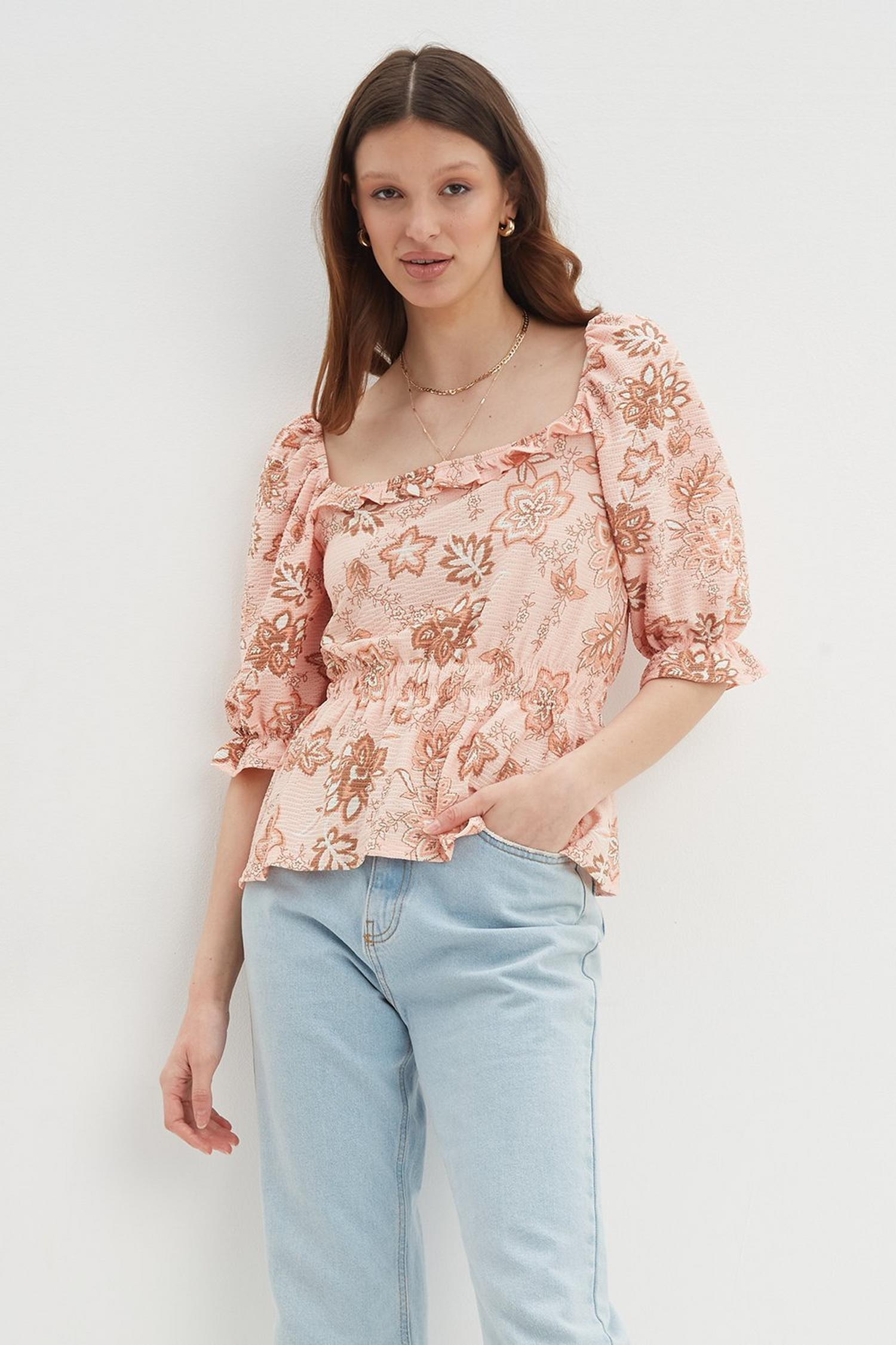 153 Paisley Square Neck Textured Top image number 2