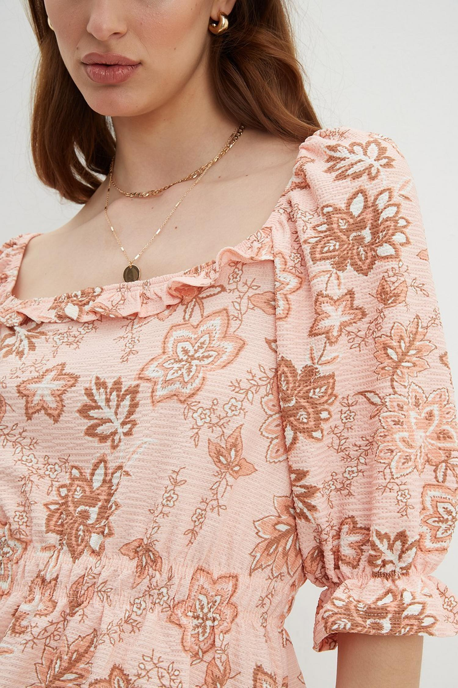 153 Paisley Square Neck Textured Top image number 4