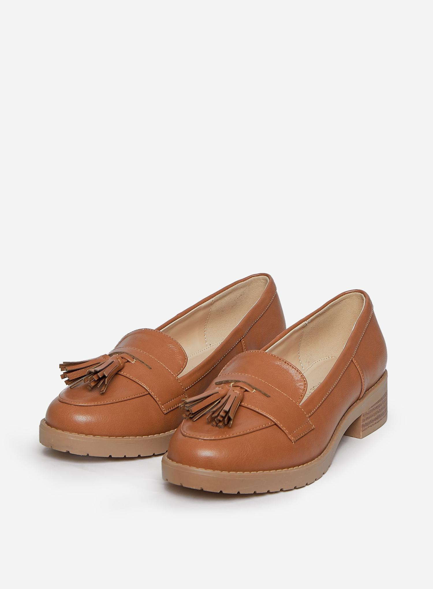 109 Wide Fit Tan Litty Loafers image number 1