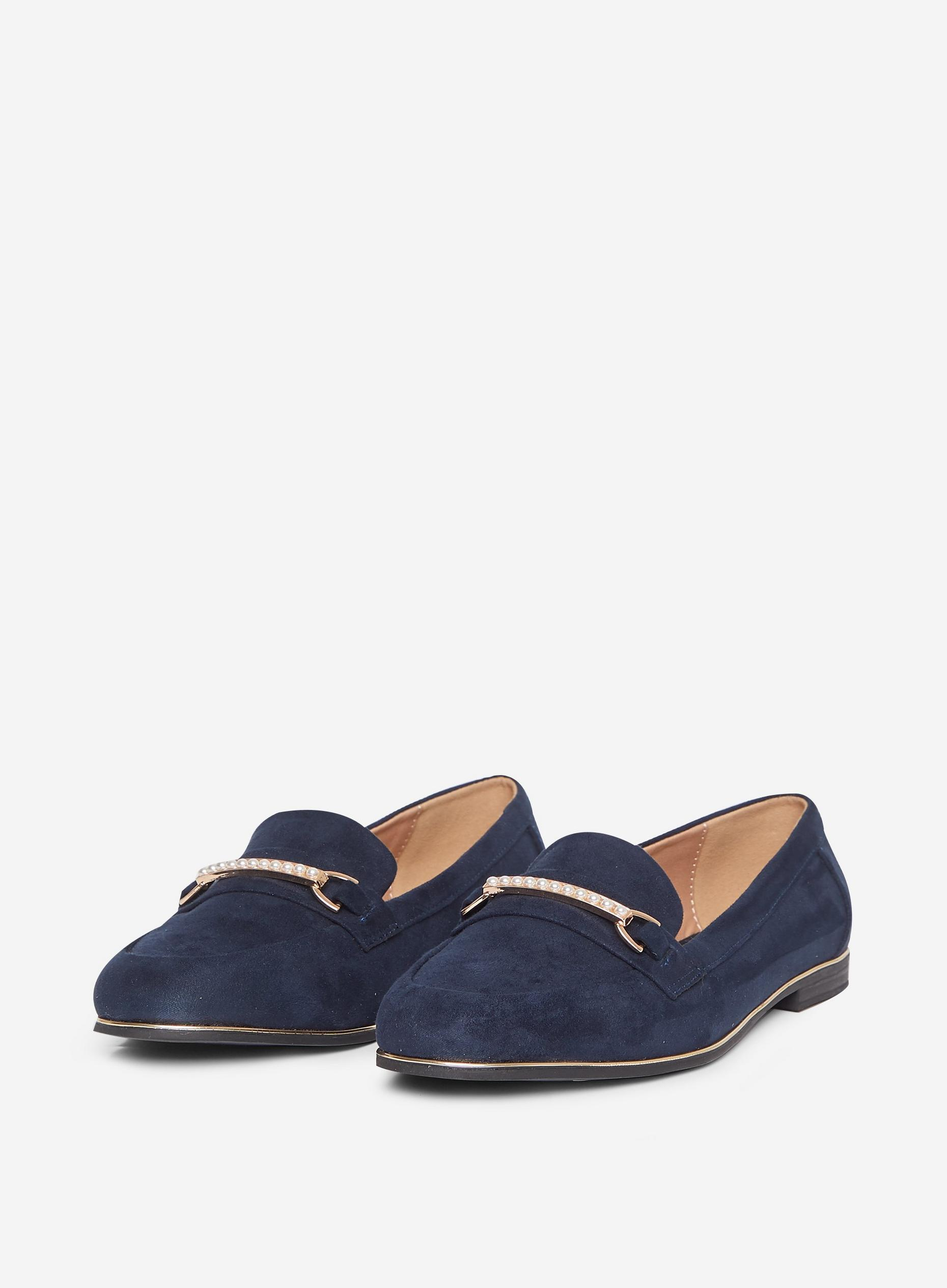 Wide Fit Navy Leila Loafers