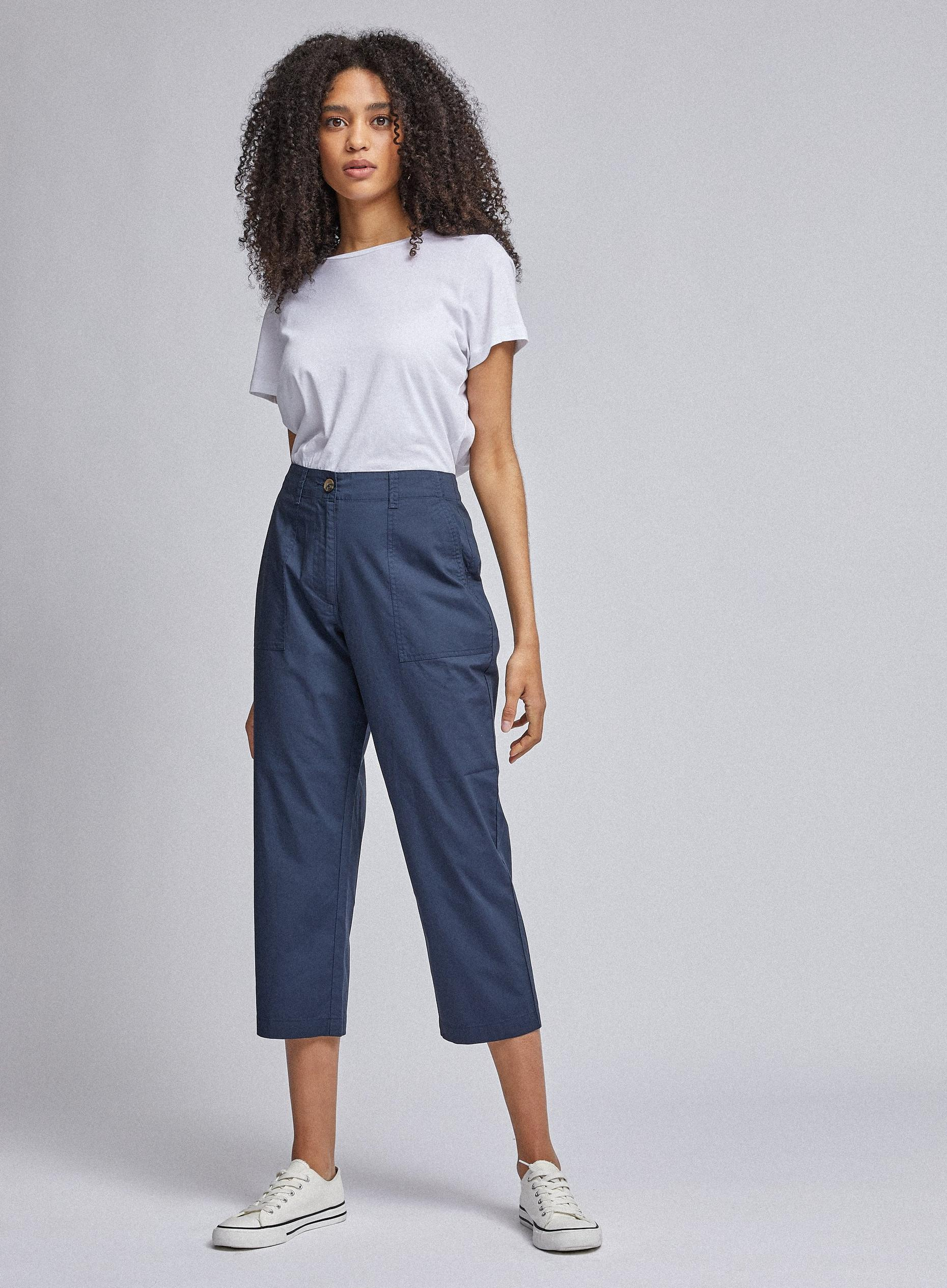 Navy Cropped Poplin Trousers