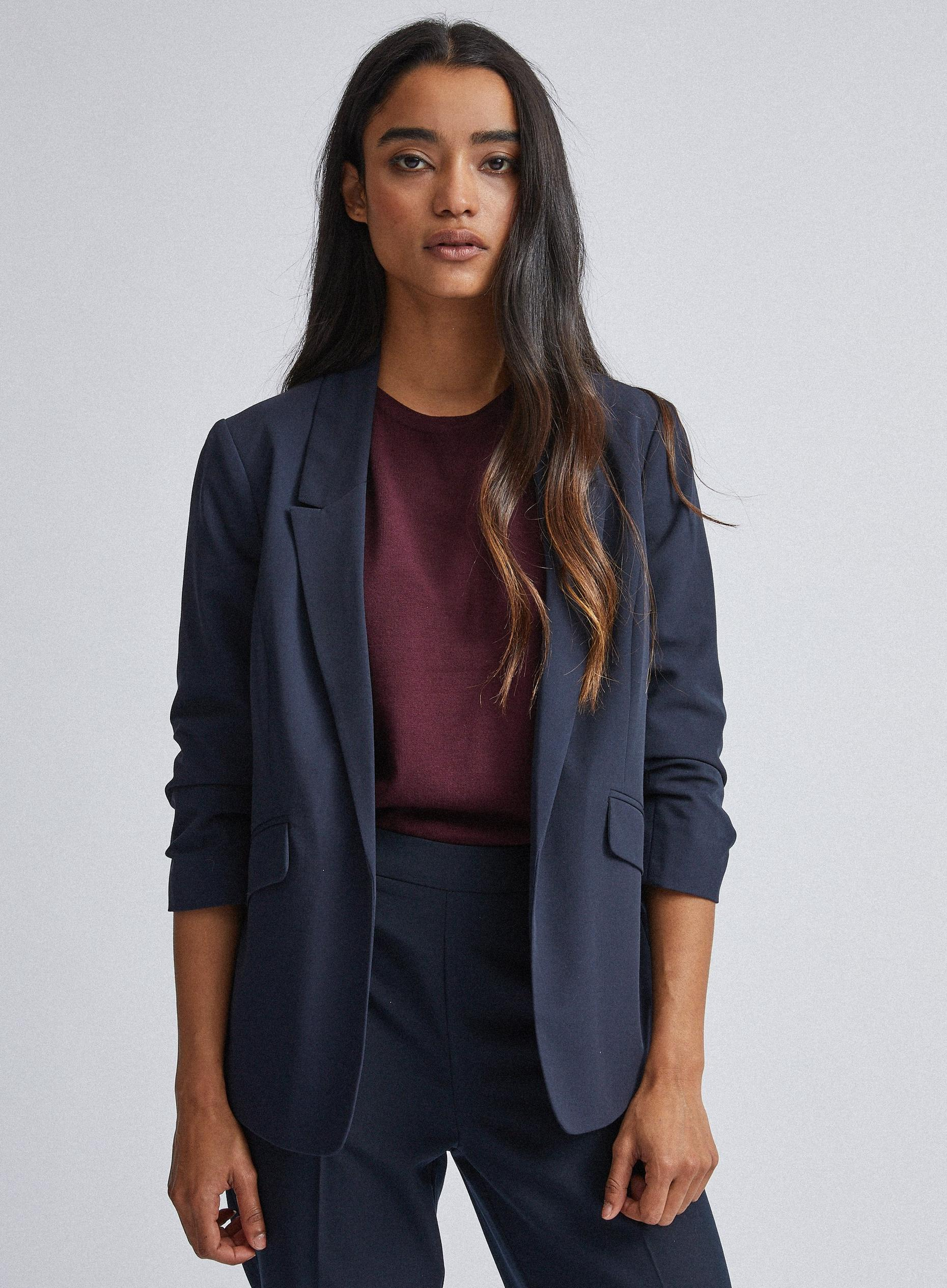 Petites Navy Ruched Sleeve Jacket