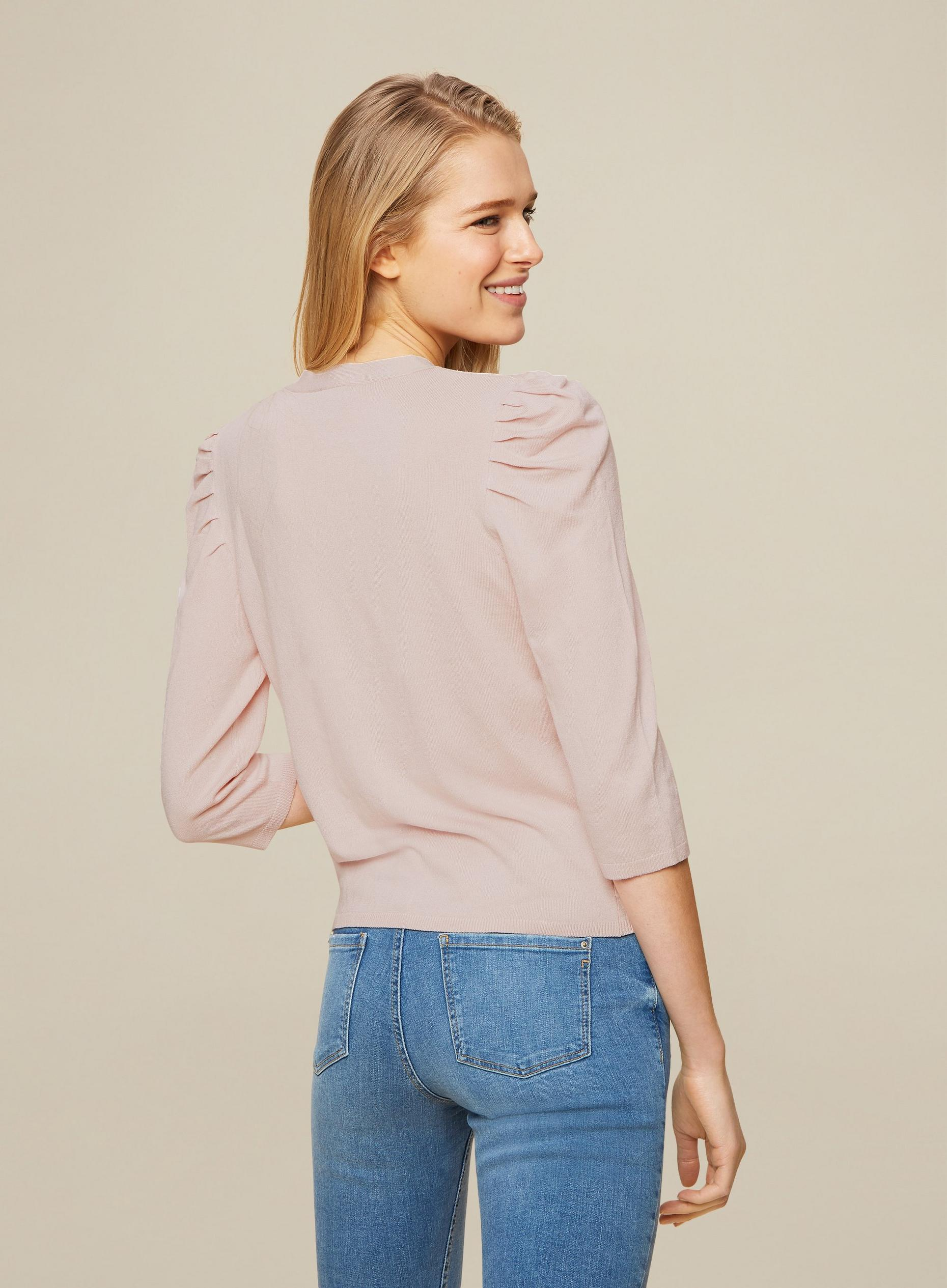 Blush Puff Sleeve Cardigan