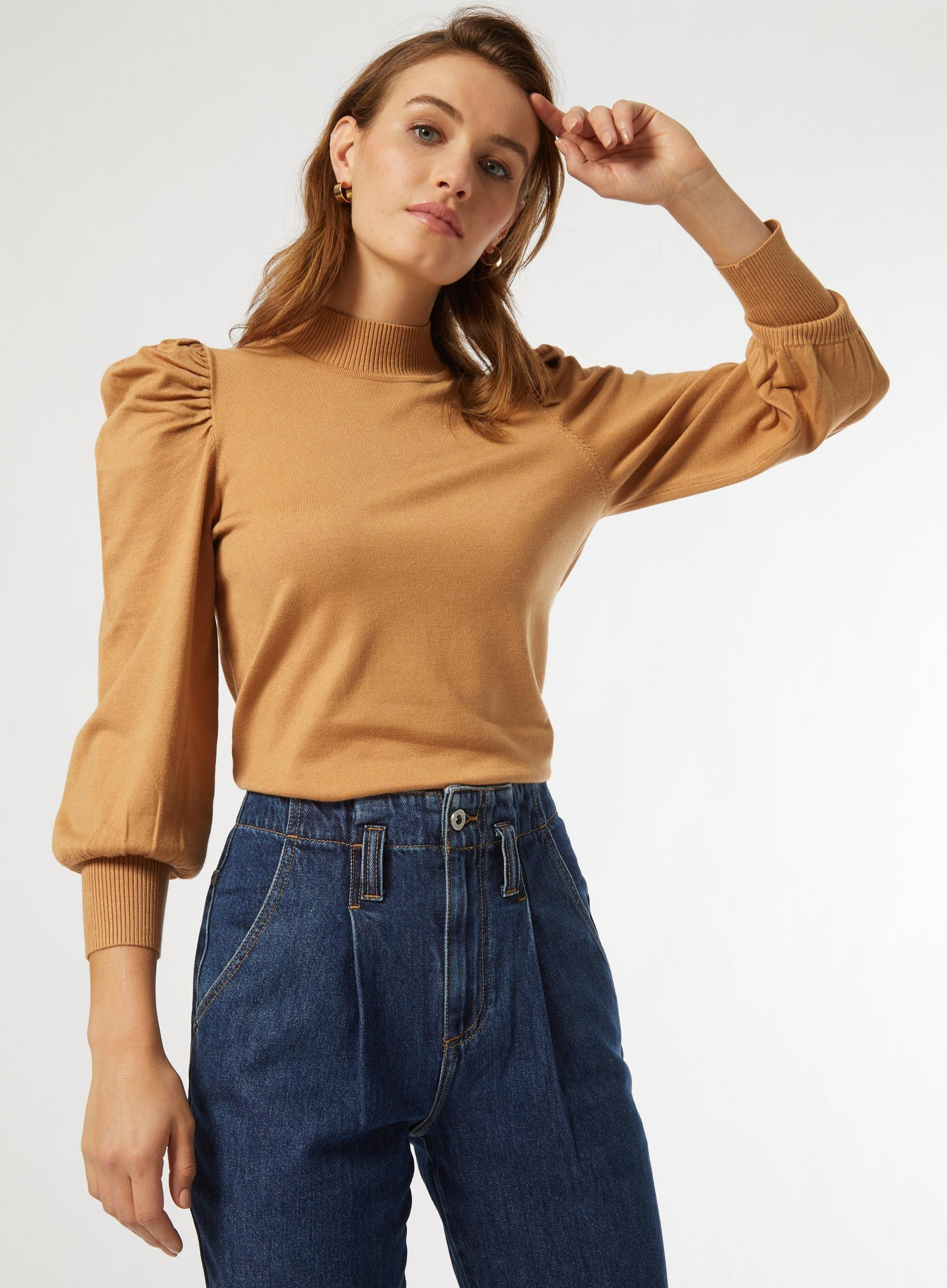 Camel Volume Sleeve Jumper