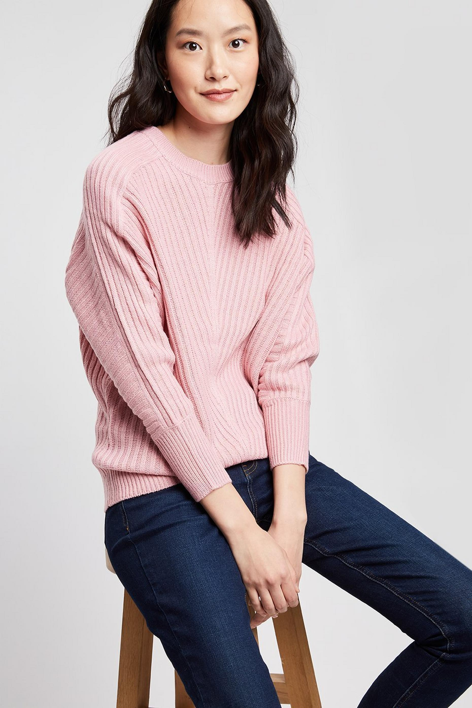 Blush Ribbed Batwing Jumper