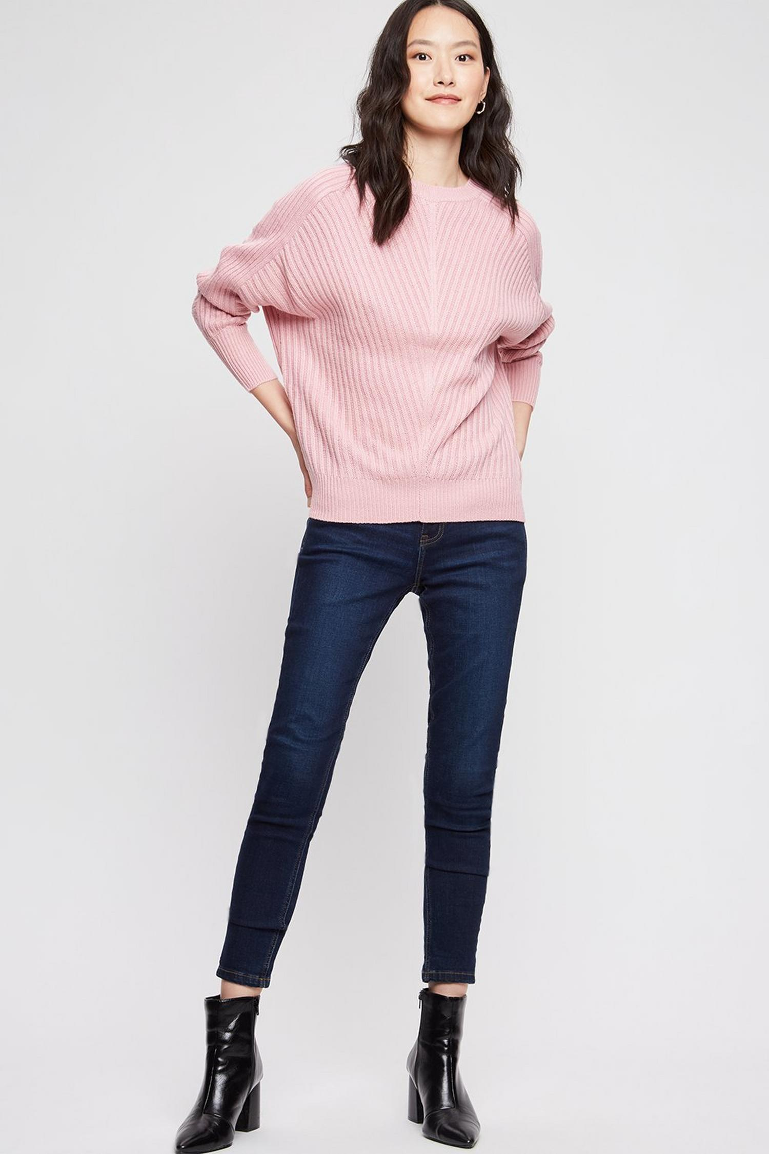 153 Blush Ribbed Batwing Jumper image number 2
