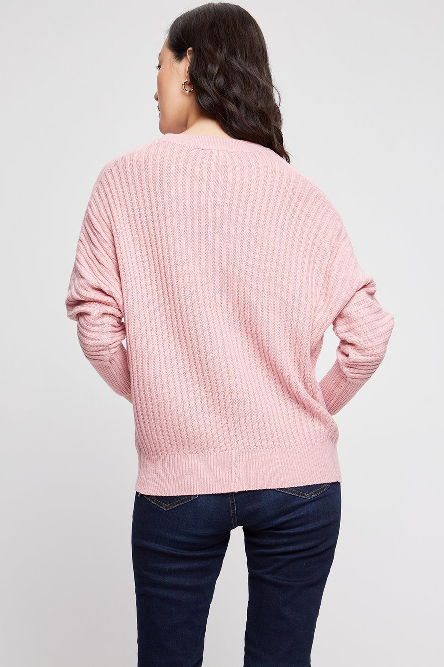153 Blush Ribbed Batwing Jumper image number 3