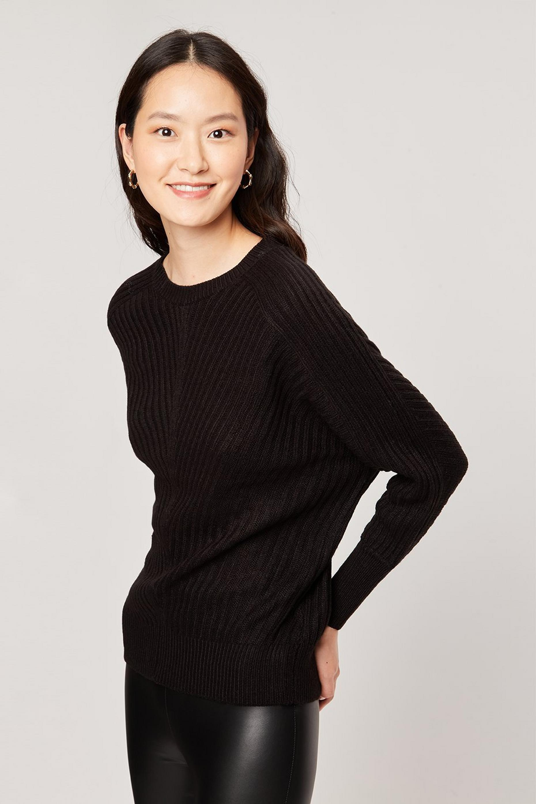 Black Rib Batwing Jumper