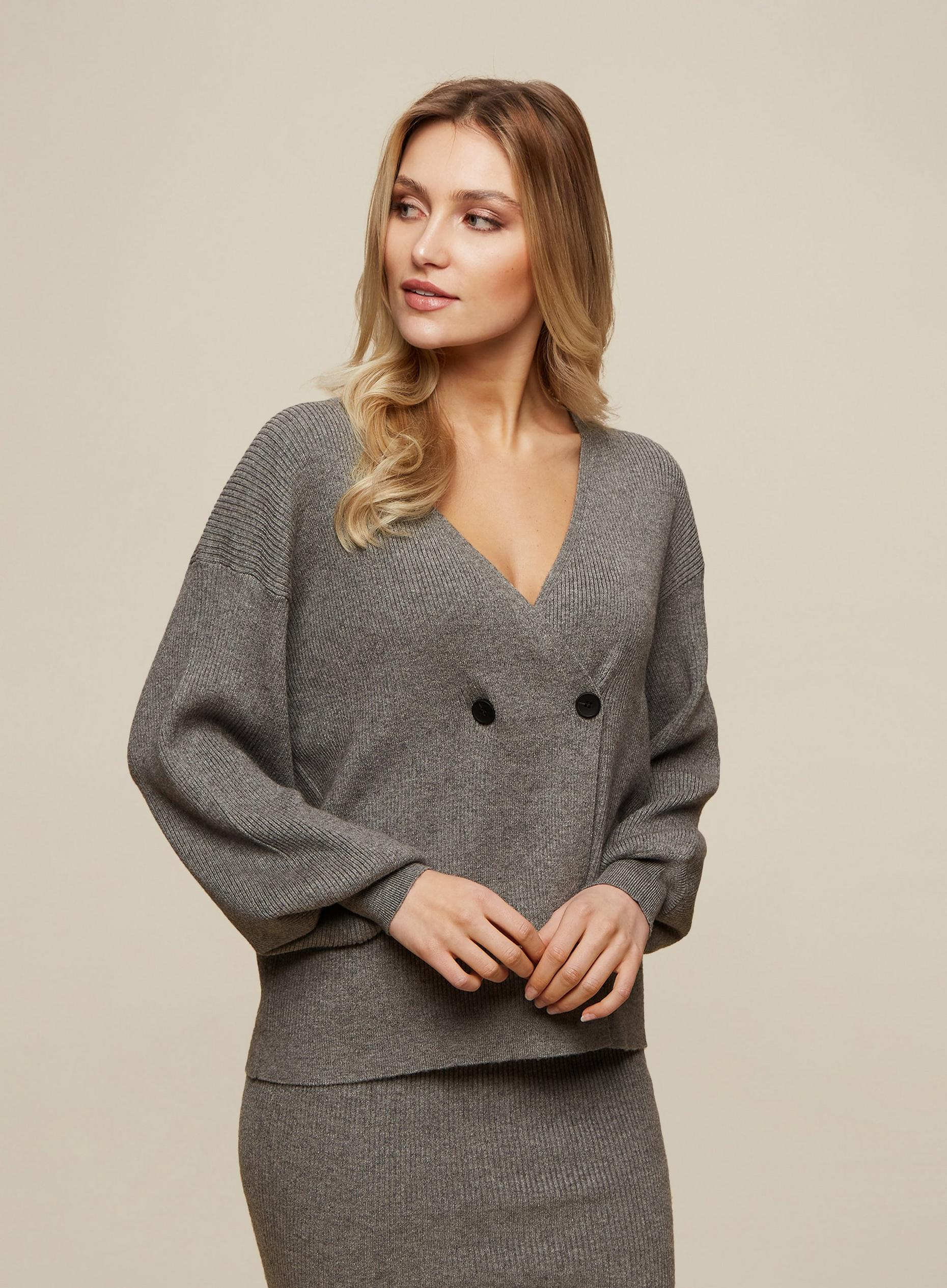 Grey Wrap Button Jumper