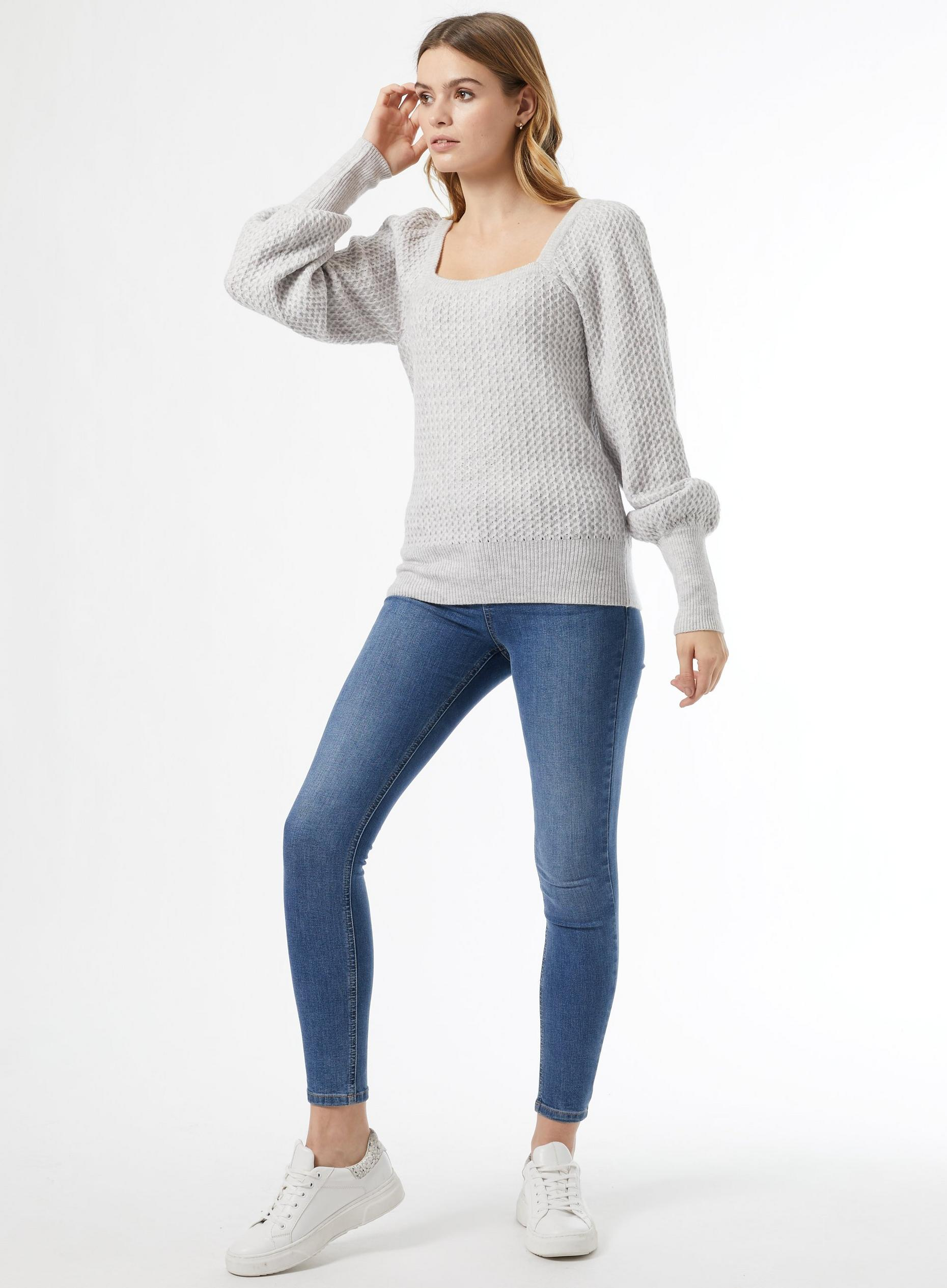 Grey Square Neck Jumper