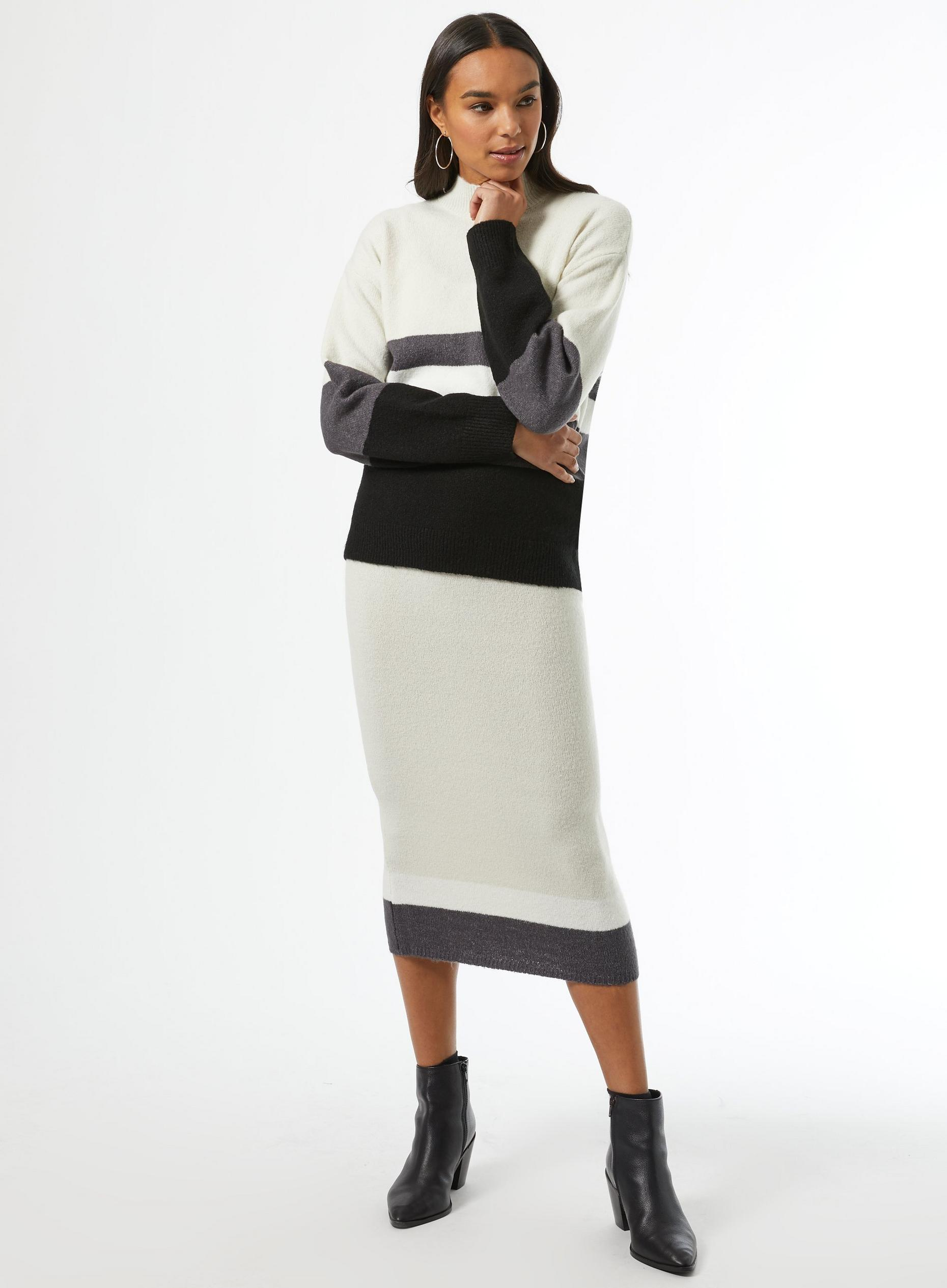 Grey Colour Block Knitted Skirt