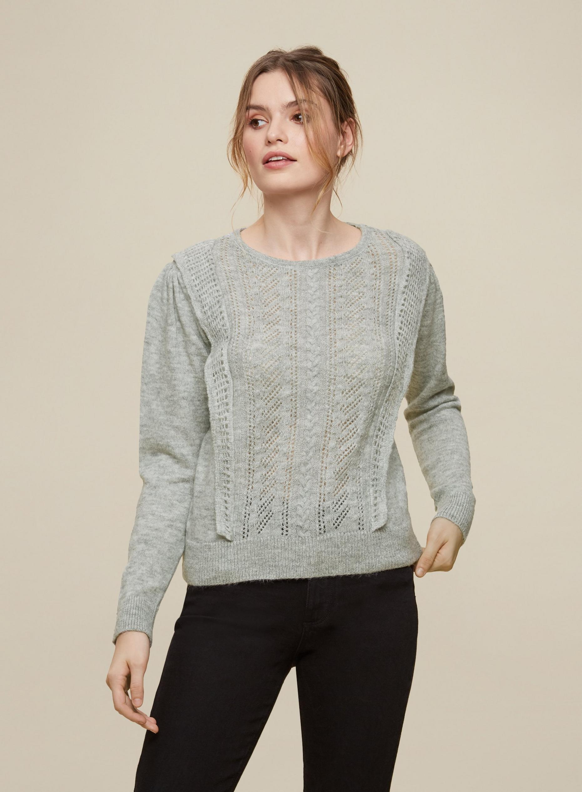 Grey Ruffle Pointelle Jumper