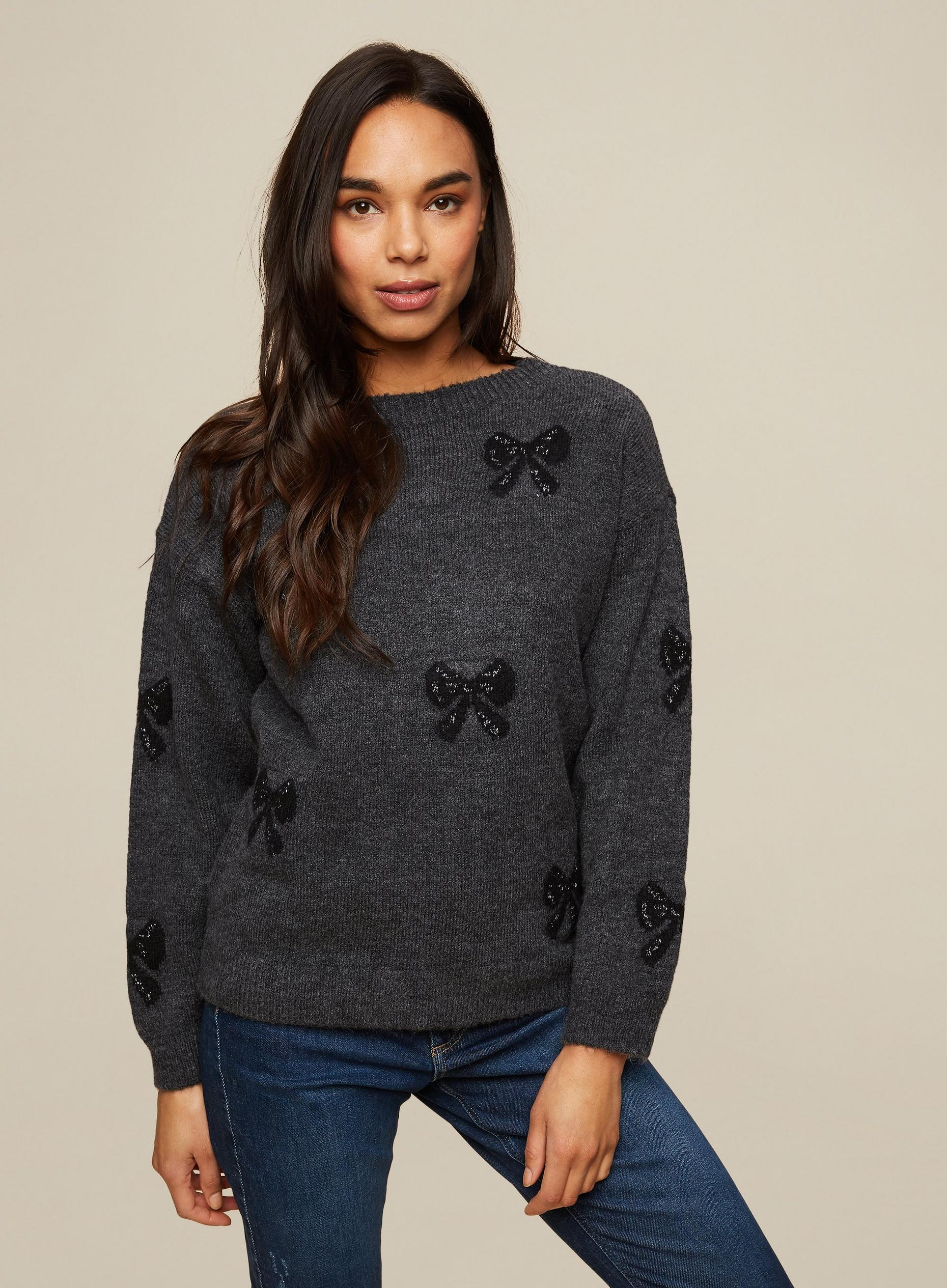 Charcoal Shimmer Bow Jumper