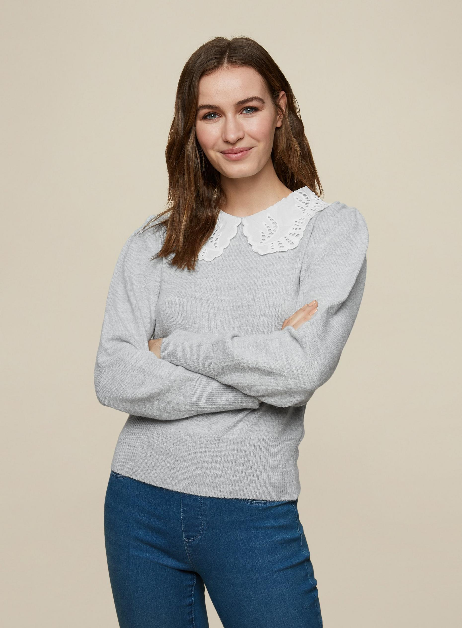 Grey Broderie 2 In 1 Collar Jumper