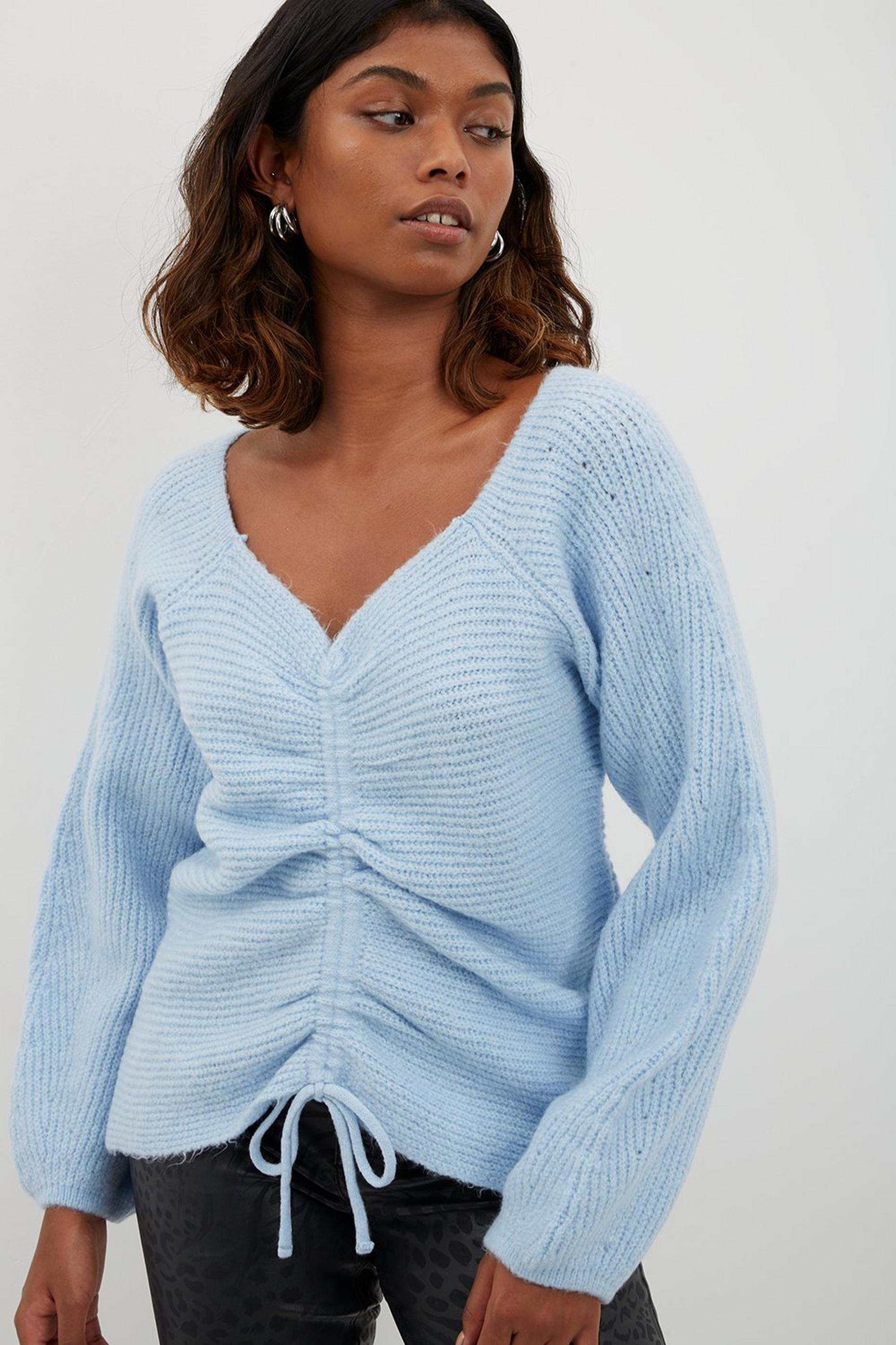 Blue Drawcord Volume Sleeve Jumper