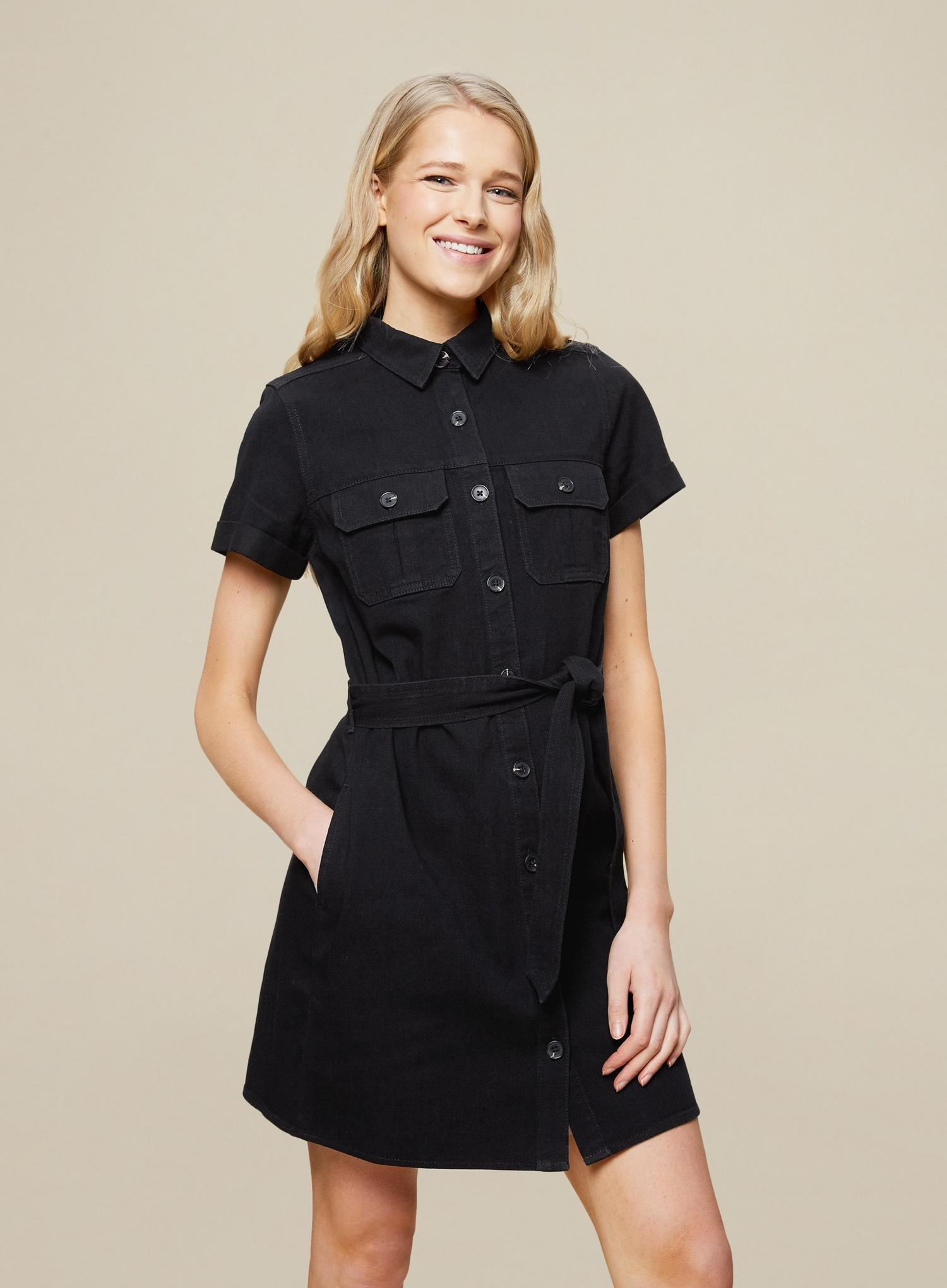 105 Black Denim Shirt Dress image number 1