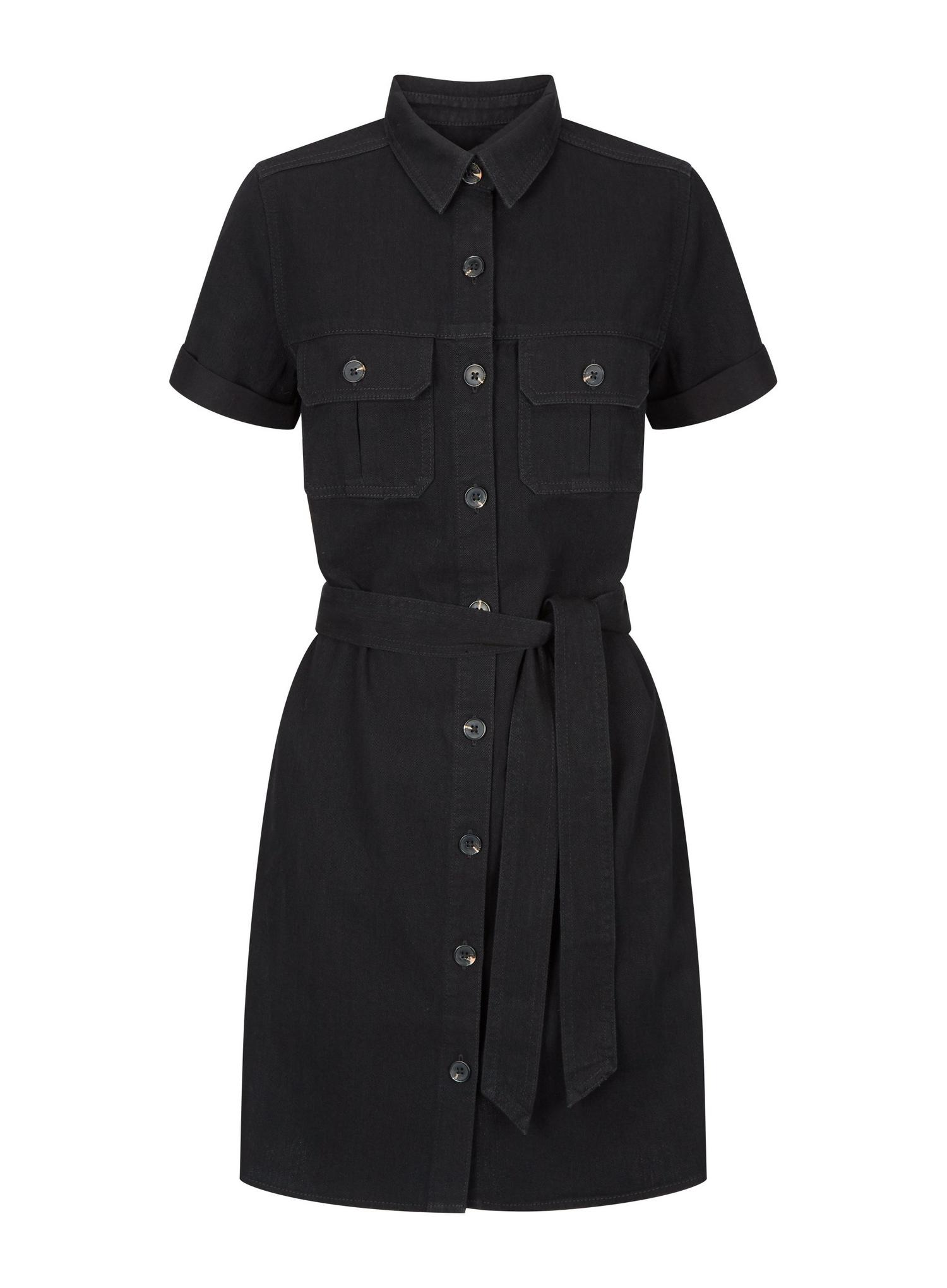 105 Black Denim Shirt Dress image number 2