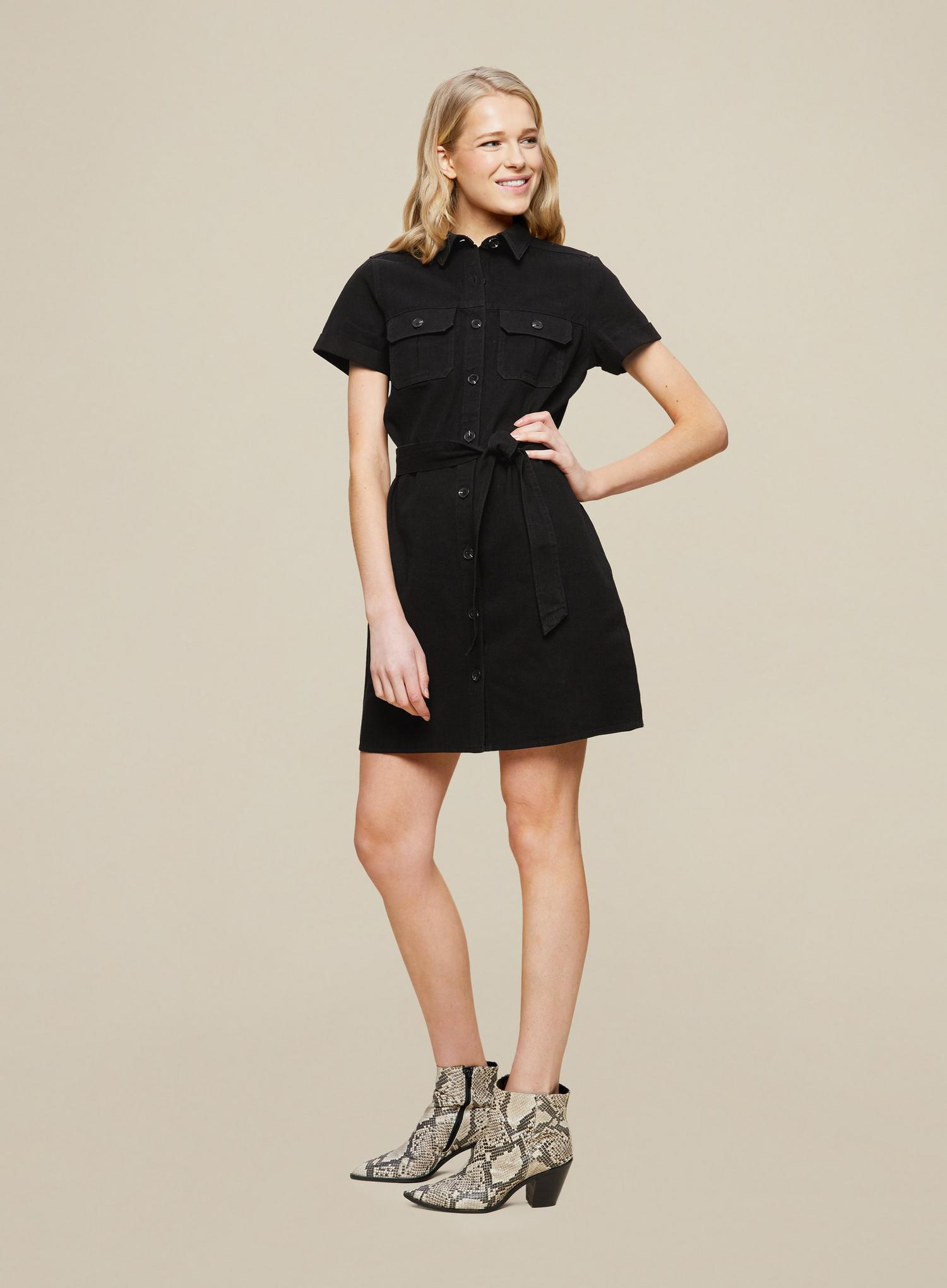 105 Black Denim Shirt Dress image number 3