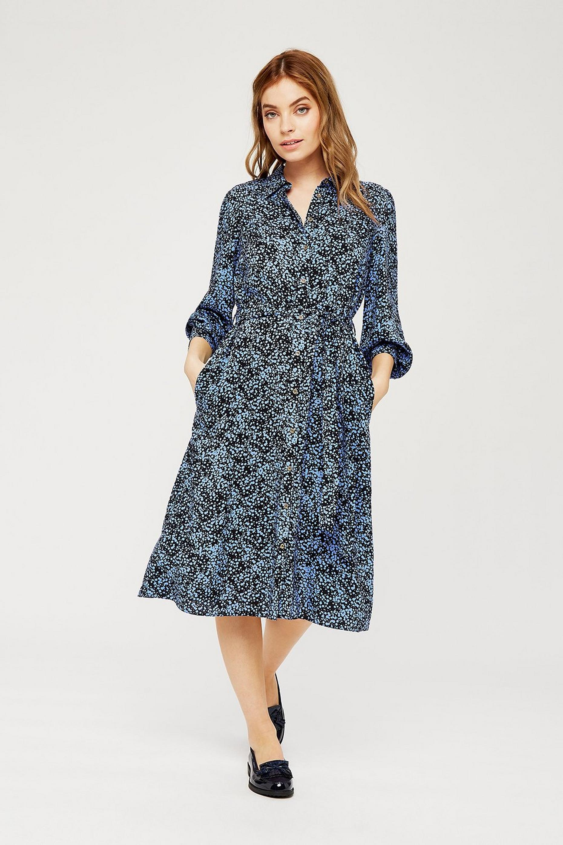 Petites Navy Floral Print Shirt Dress