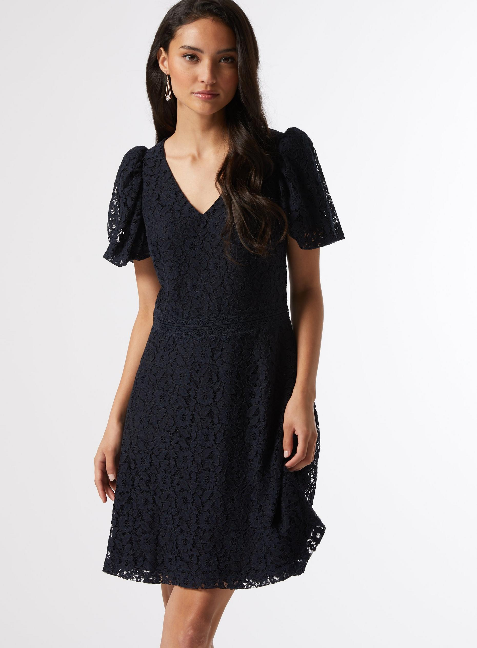 Petite Navy Lace Dress