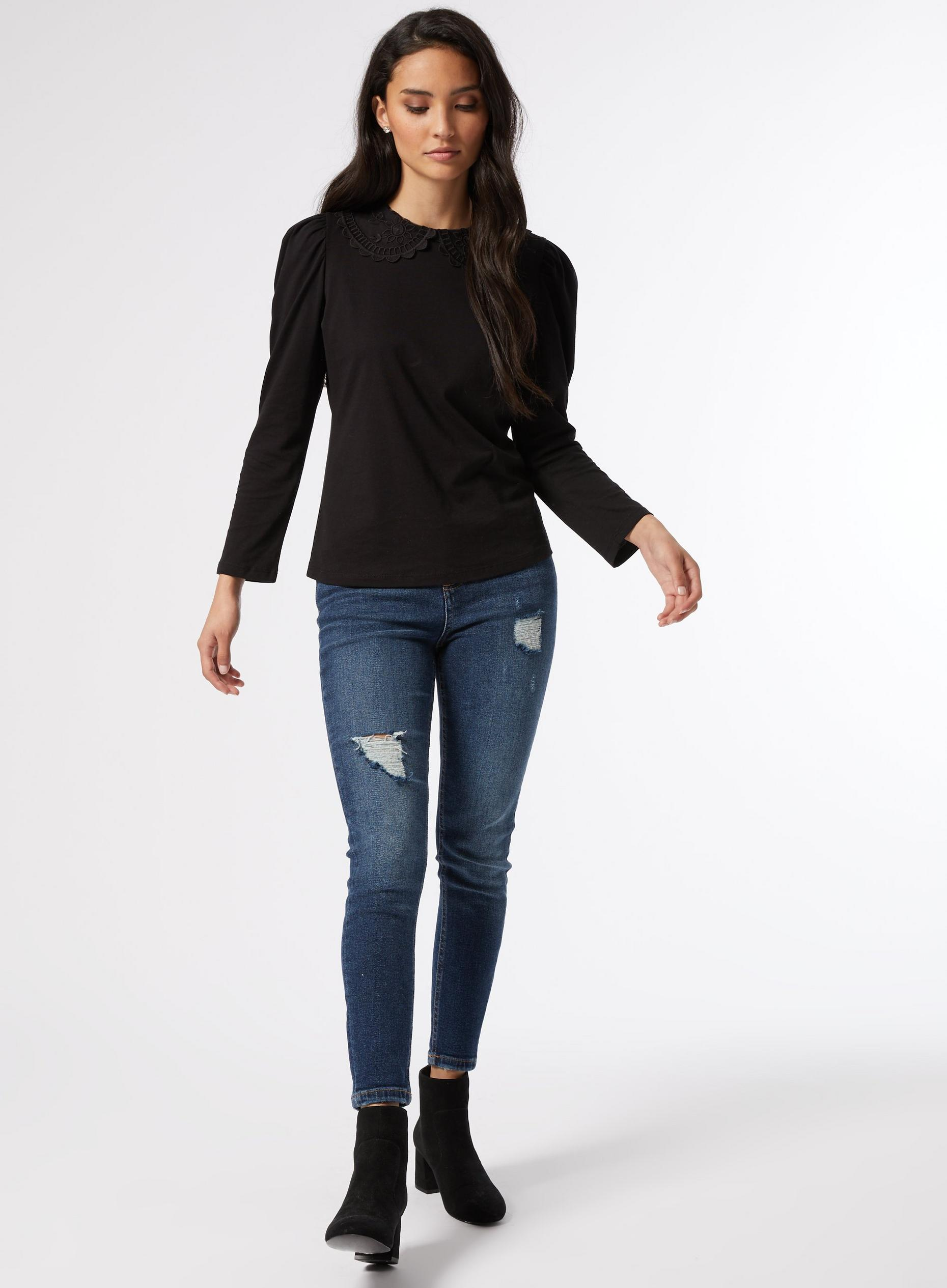 Petite Black Puff Sleeve Top