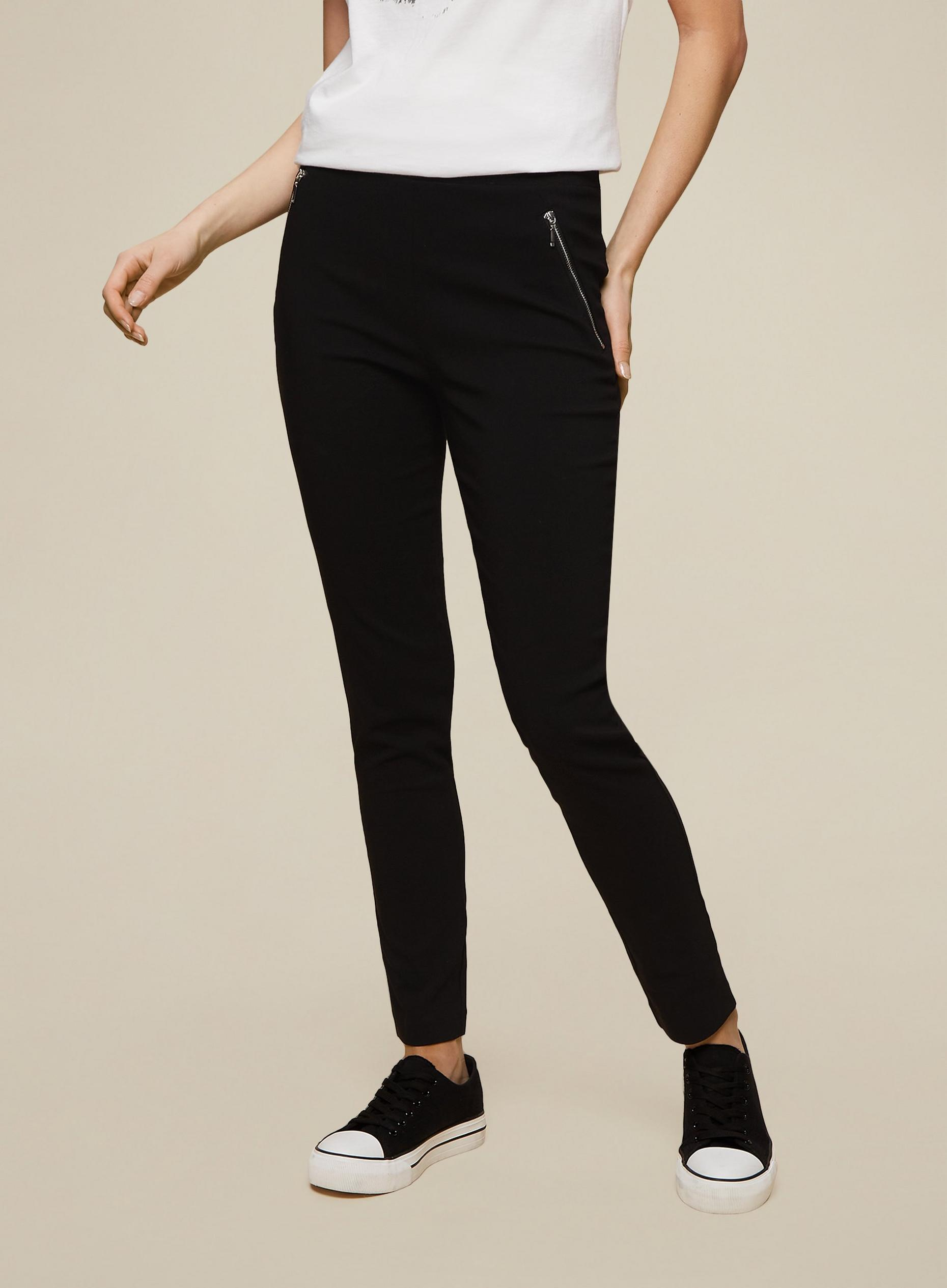 Black Zip Detail Skinny Trouser