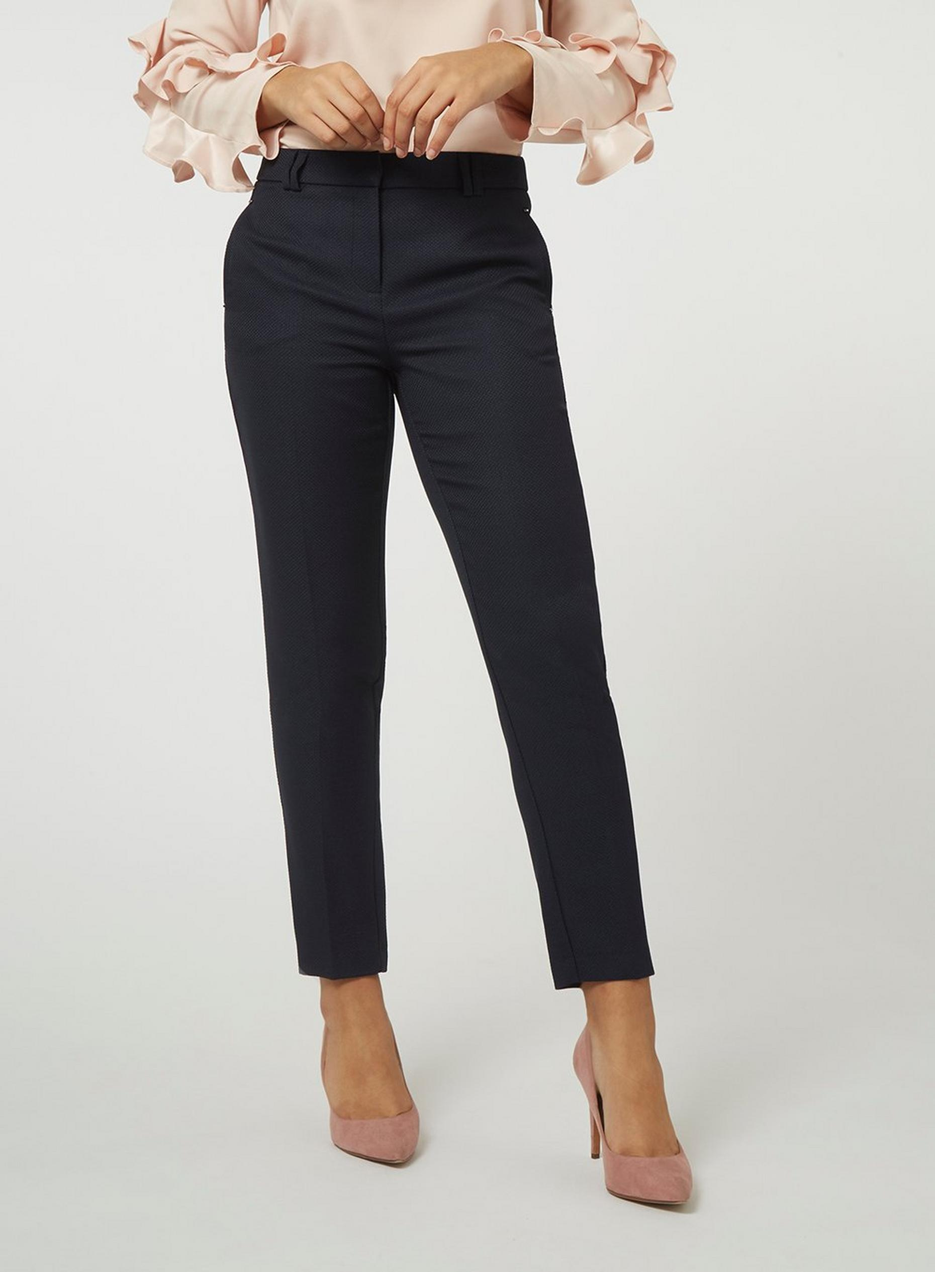 Regular Navy Textured Trouser