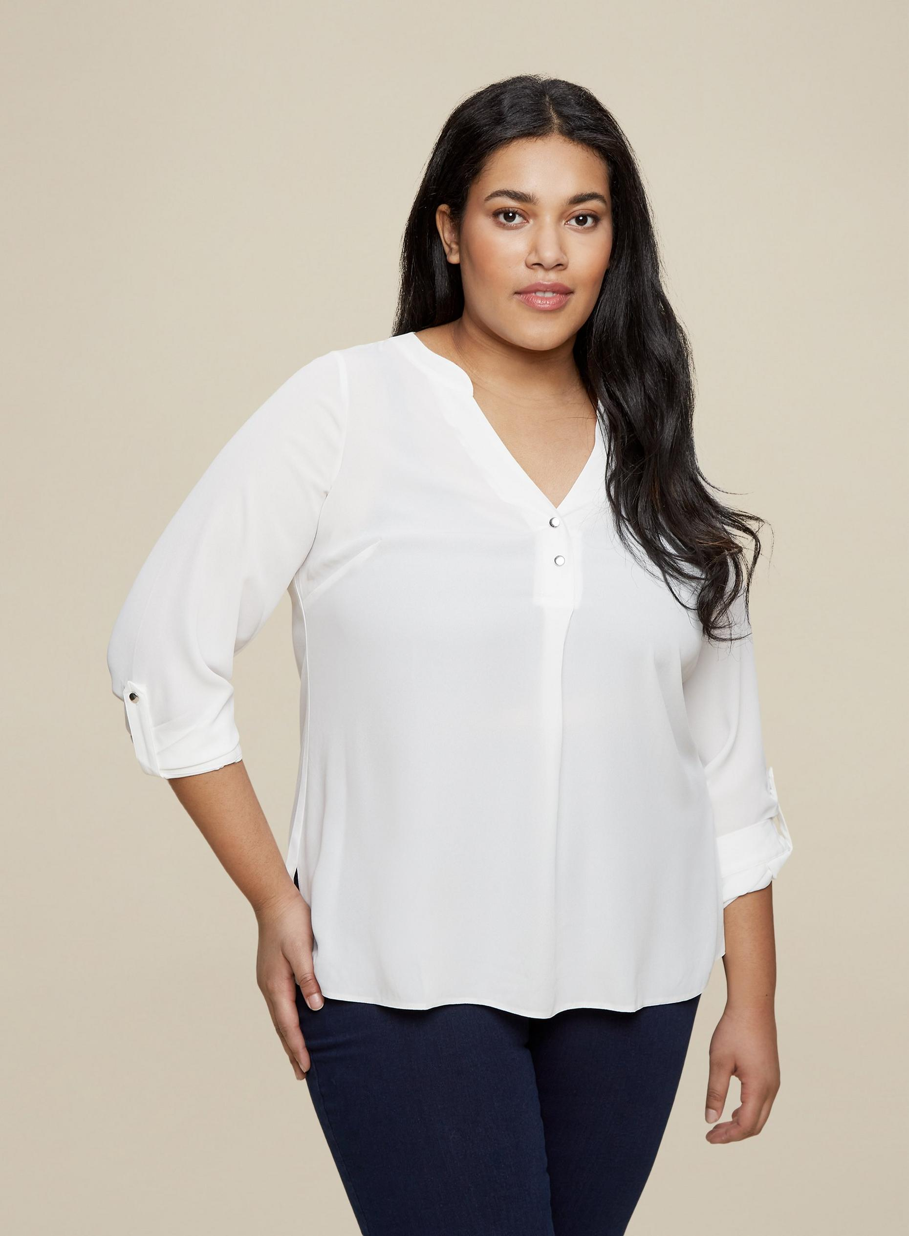 Curve Ivory Roll Sleeve Top