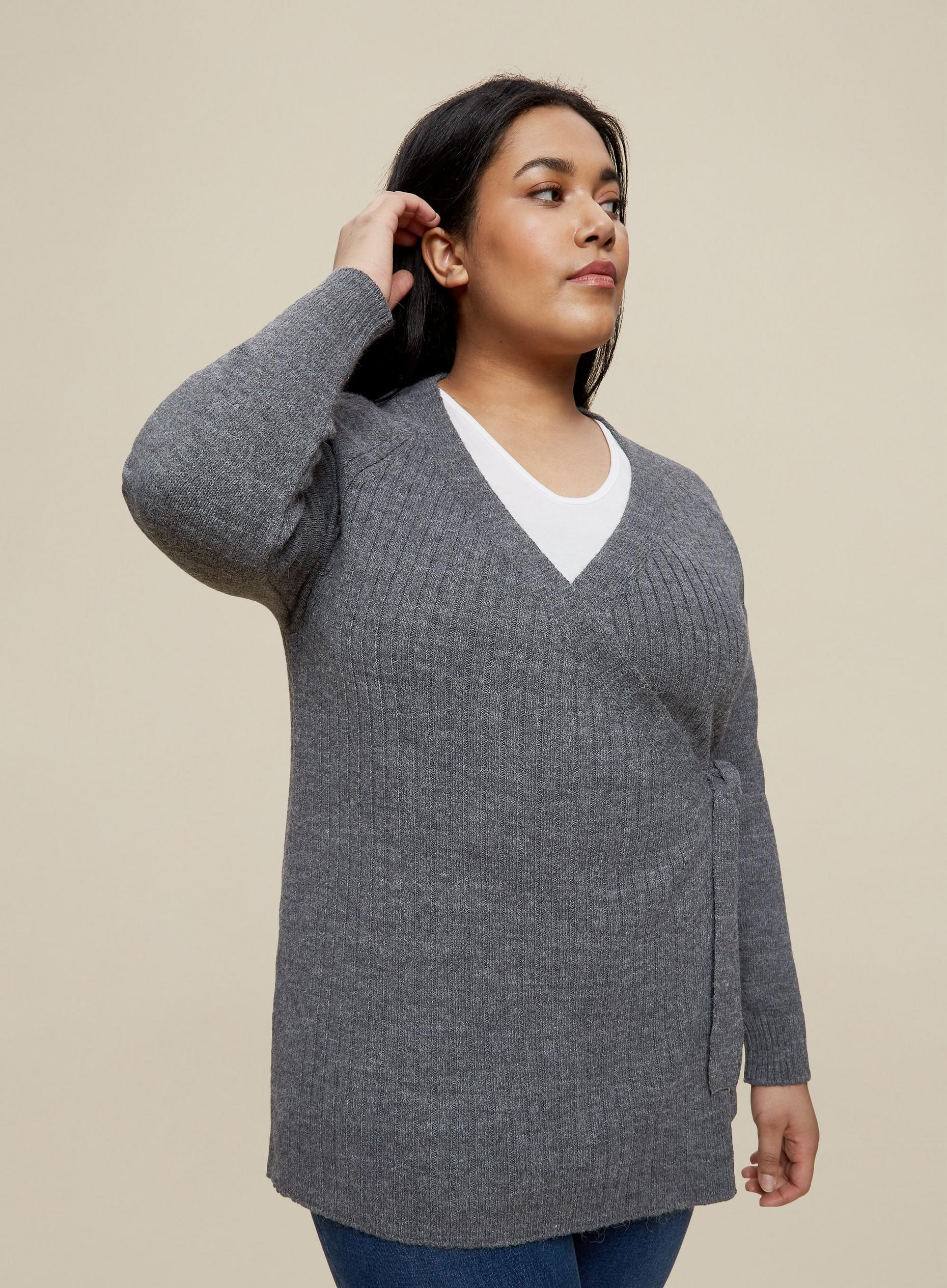 Curve Charcoal Wrap Cardigan
