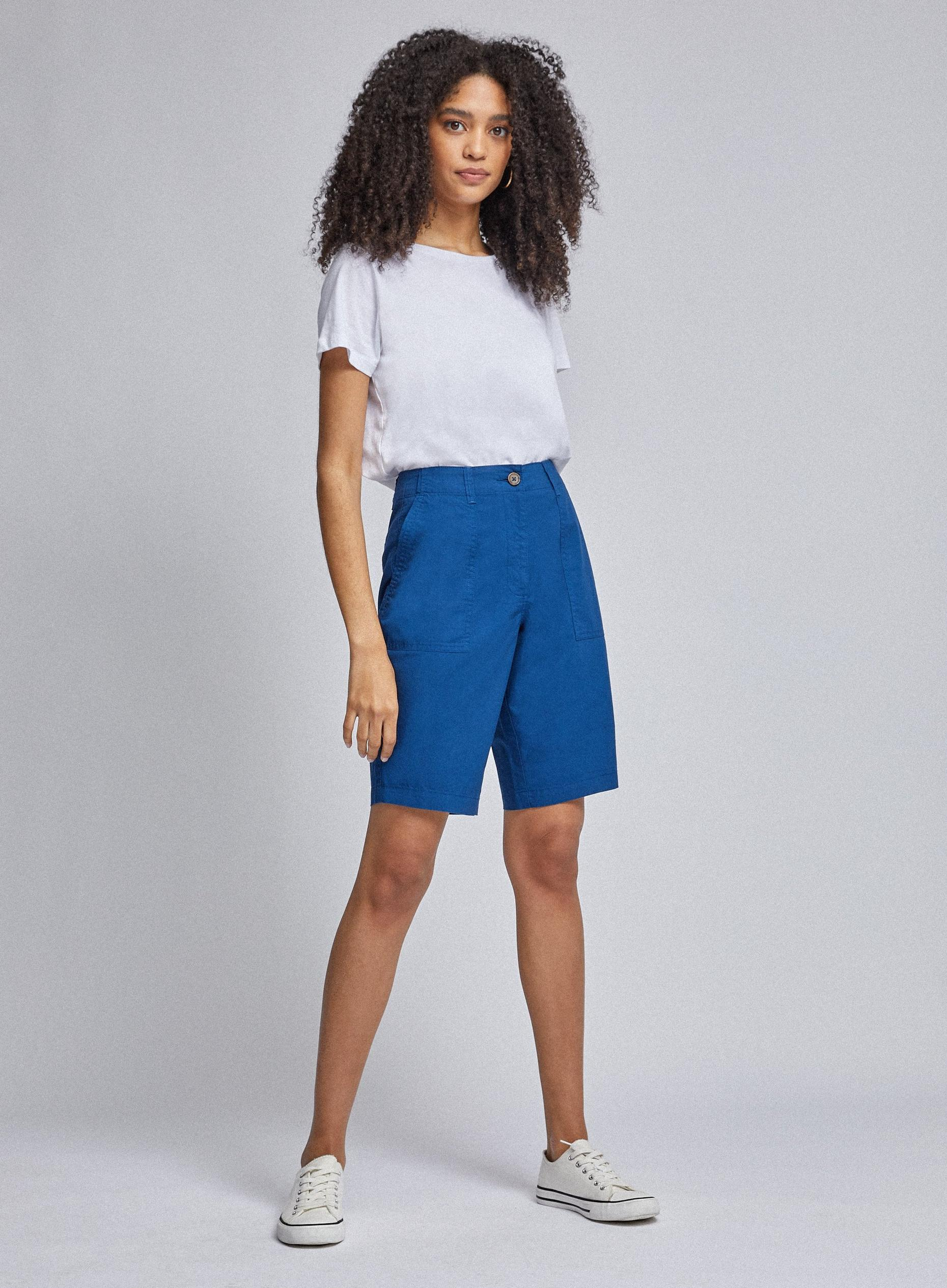 Blue Poplin Knee Shorts