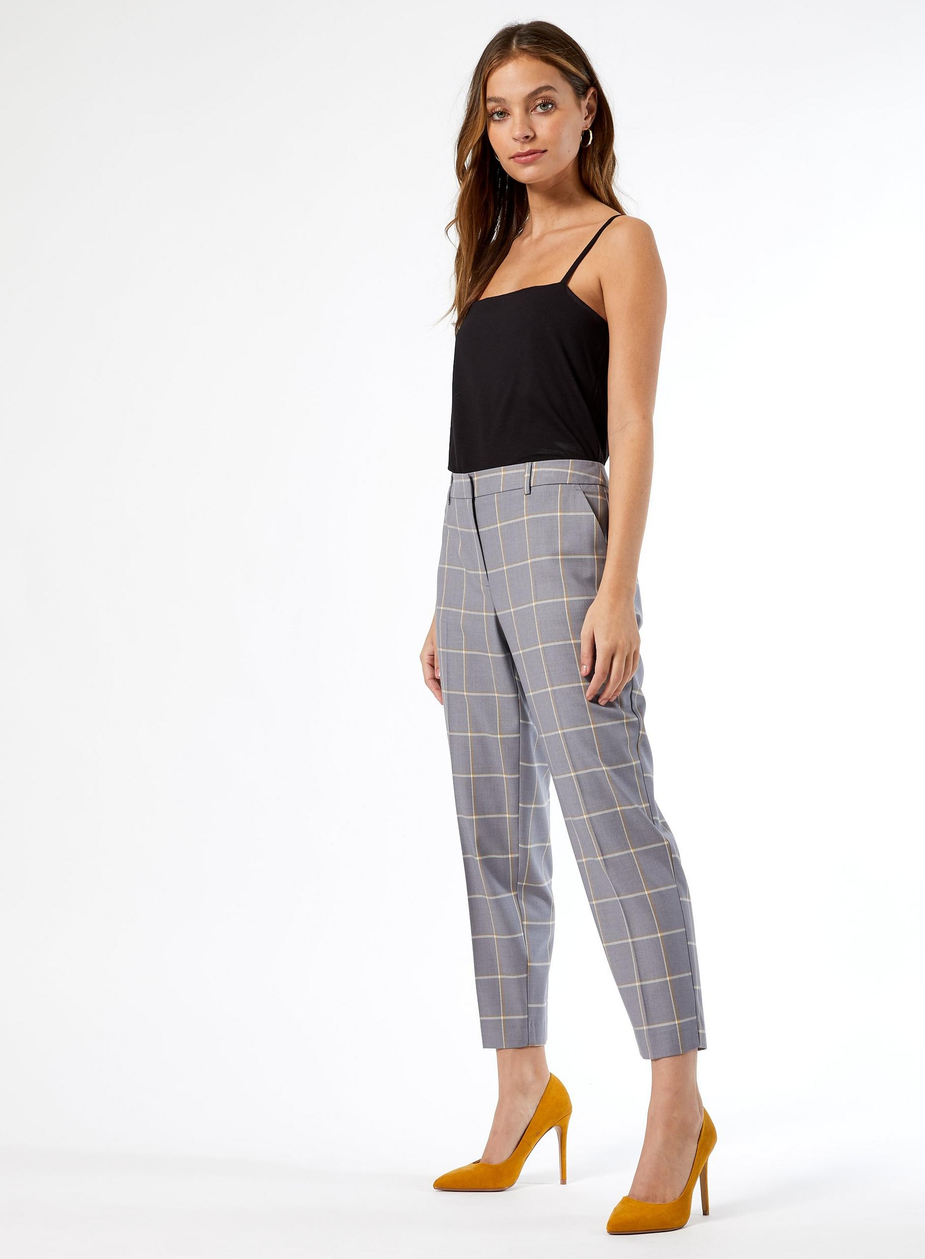 Petite Grey Checked Ankle Grazer Trousers