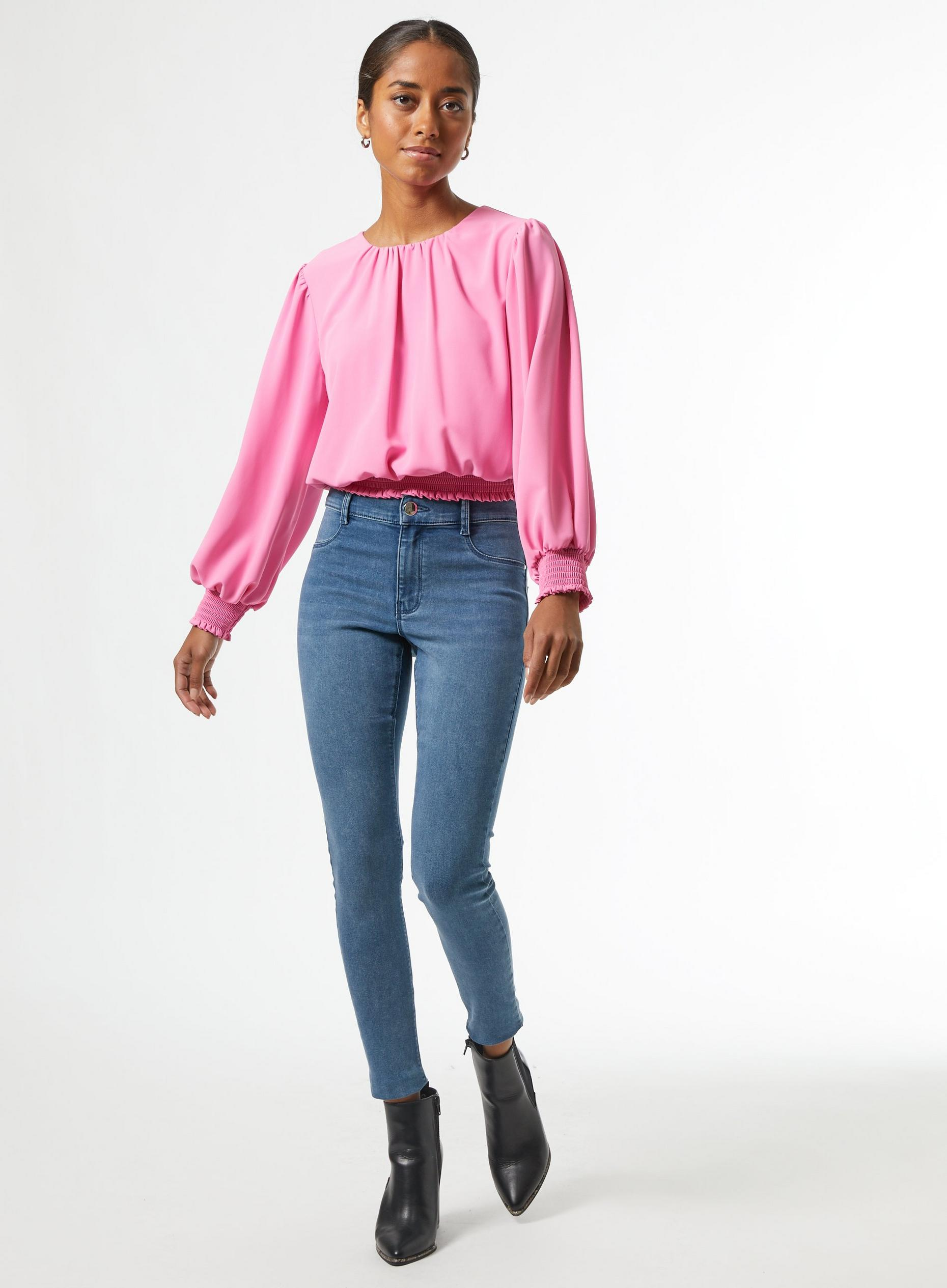 DP Petite Pink Shirred Hem Top