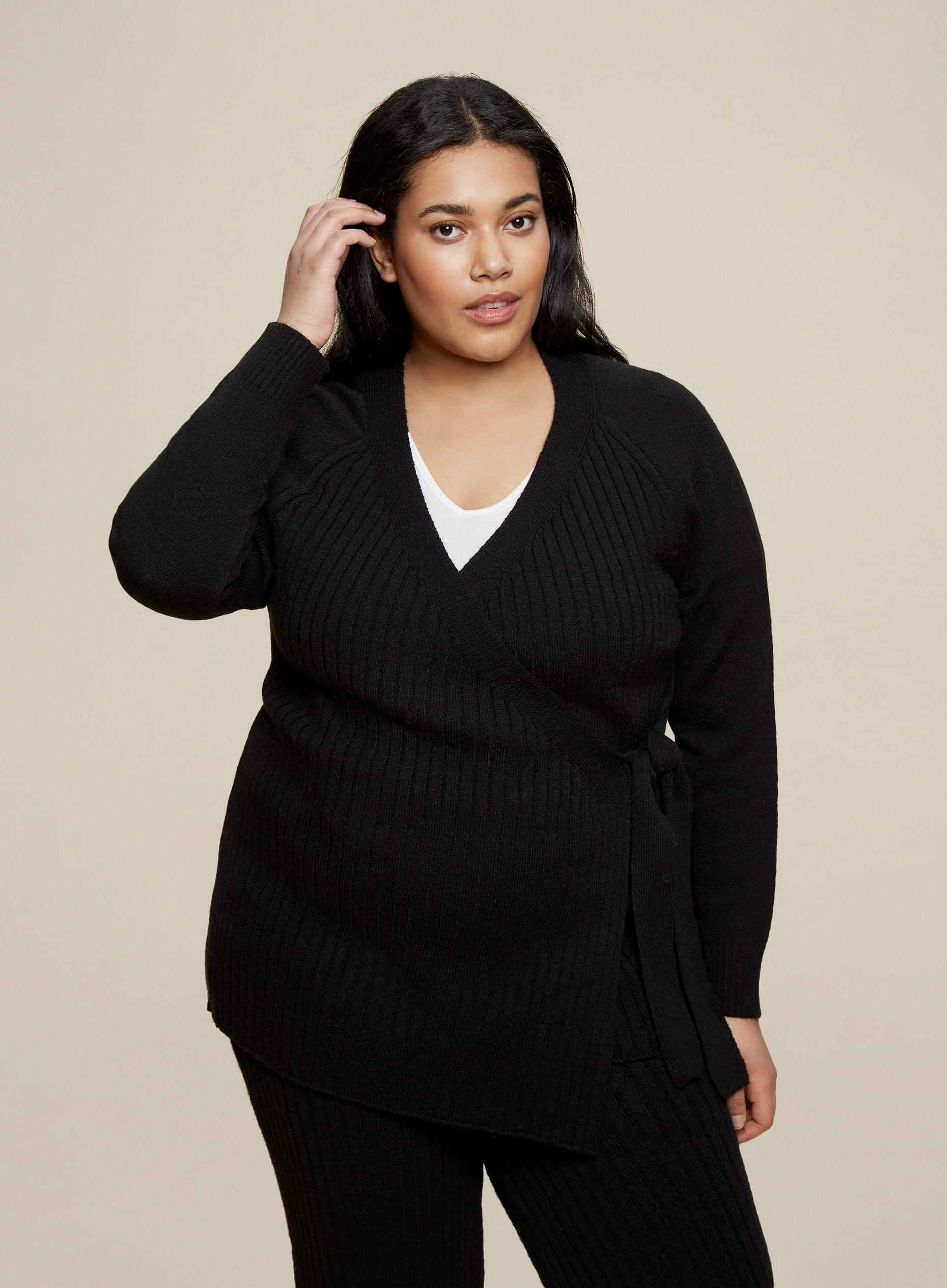 Curve Black Wrap Cardigan