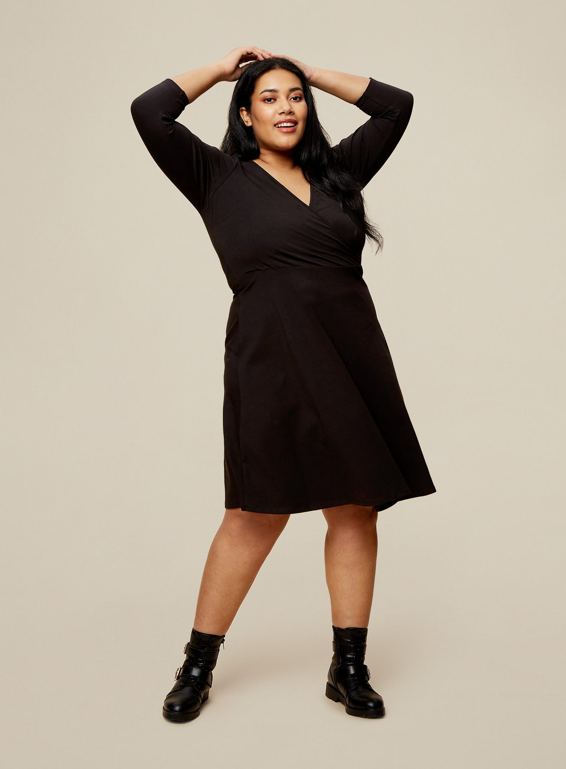 Curve Black Wrap Dress