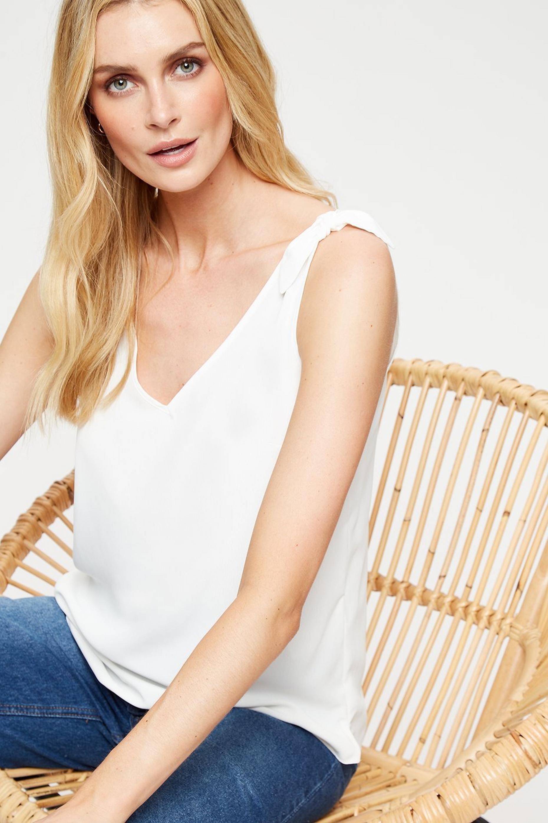 Ivory Tie Shoulder Camisole Top