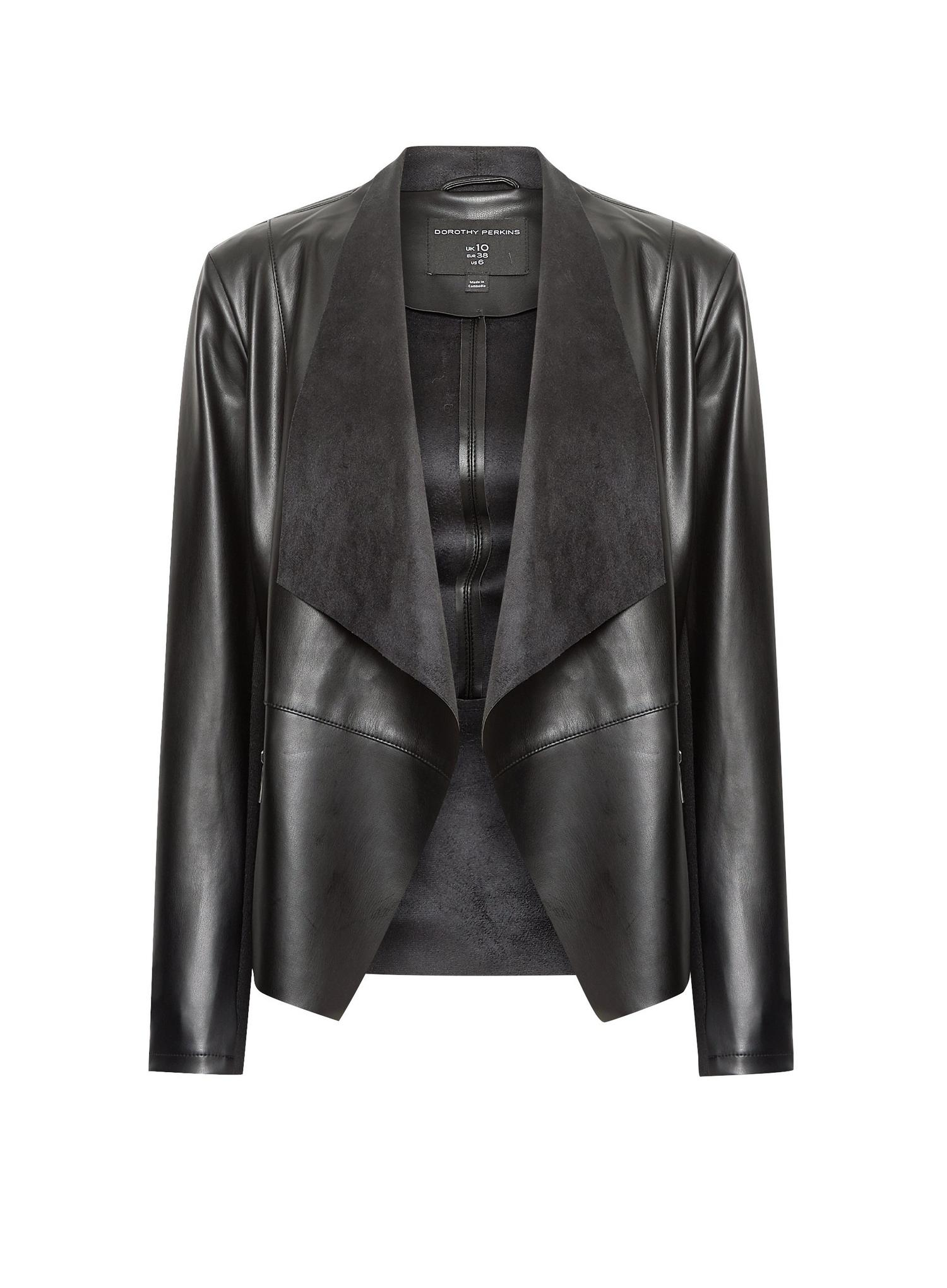 105 Black Faux Leather Waterfall Jacket image number 2