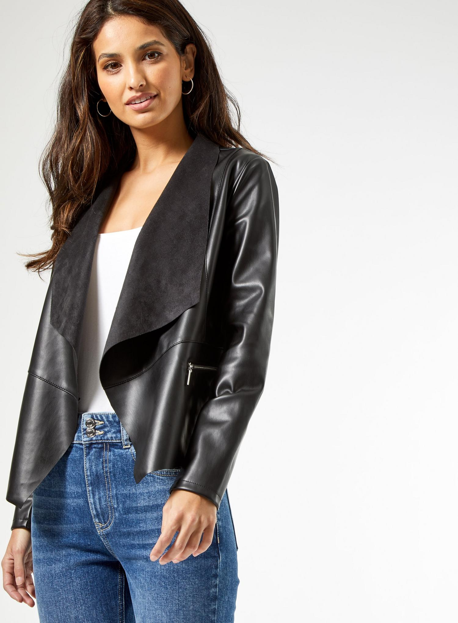 105 Black Faux Leather Waterfall Jacket image number 4