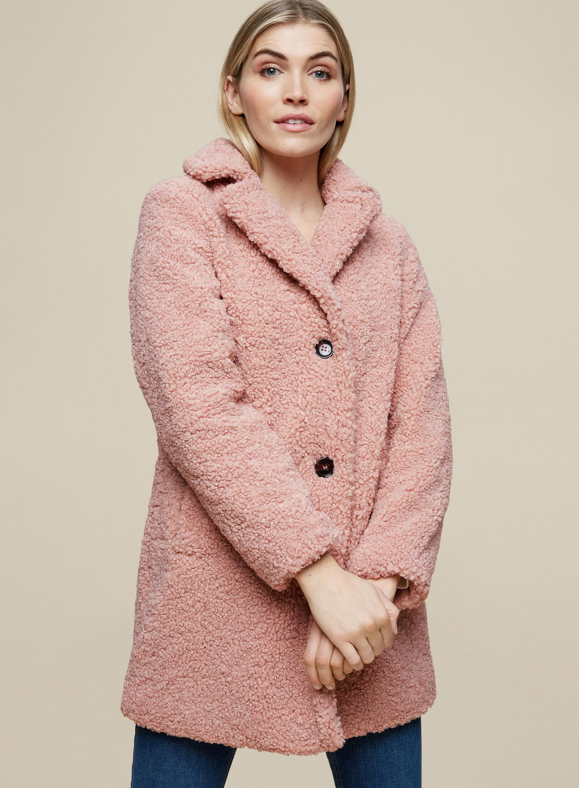 Blush Long Teddy Coat