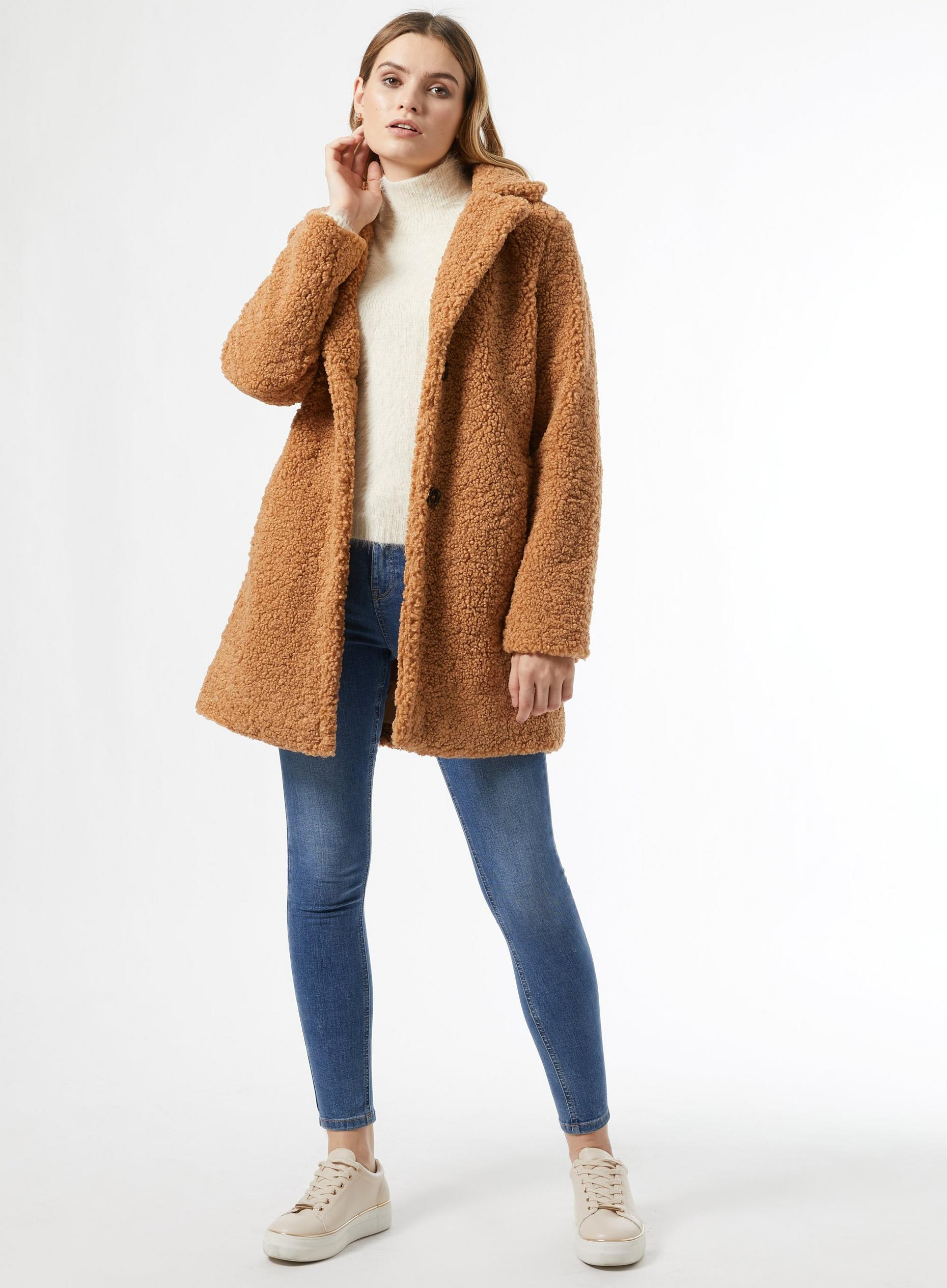 Tan Long Teddy Coat