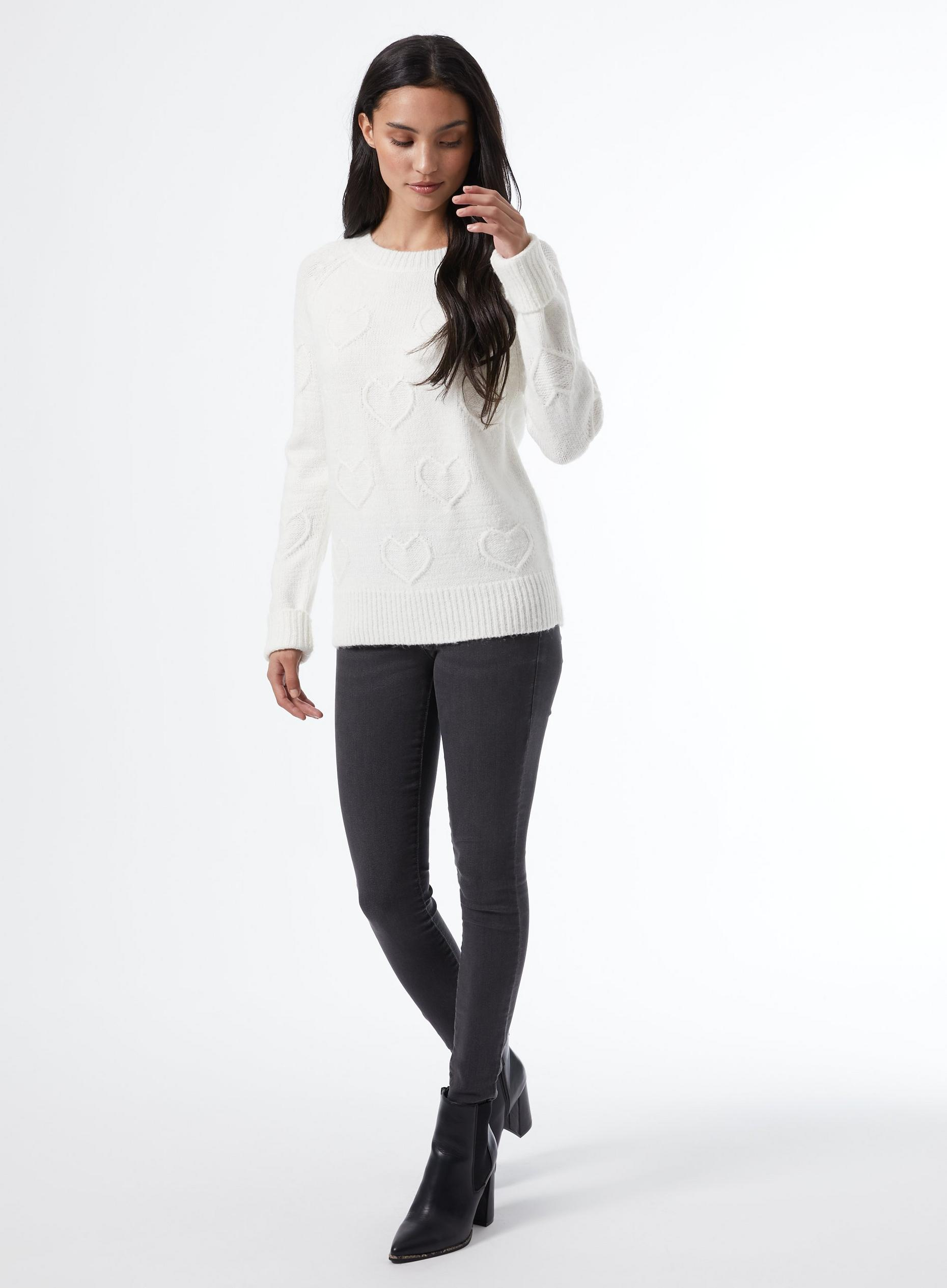 Petites Ivory Bobble Heart Jumper