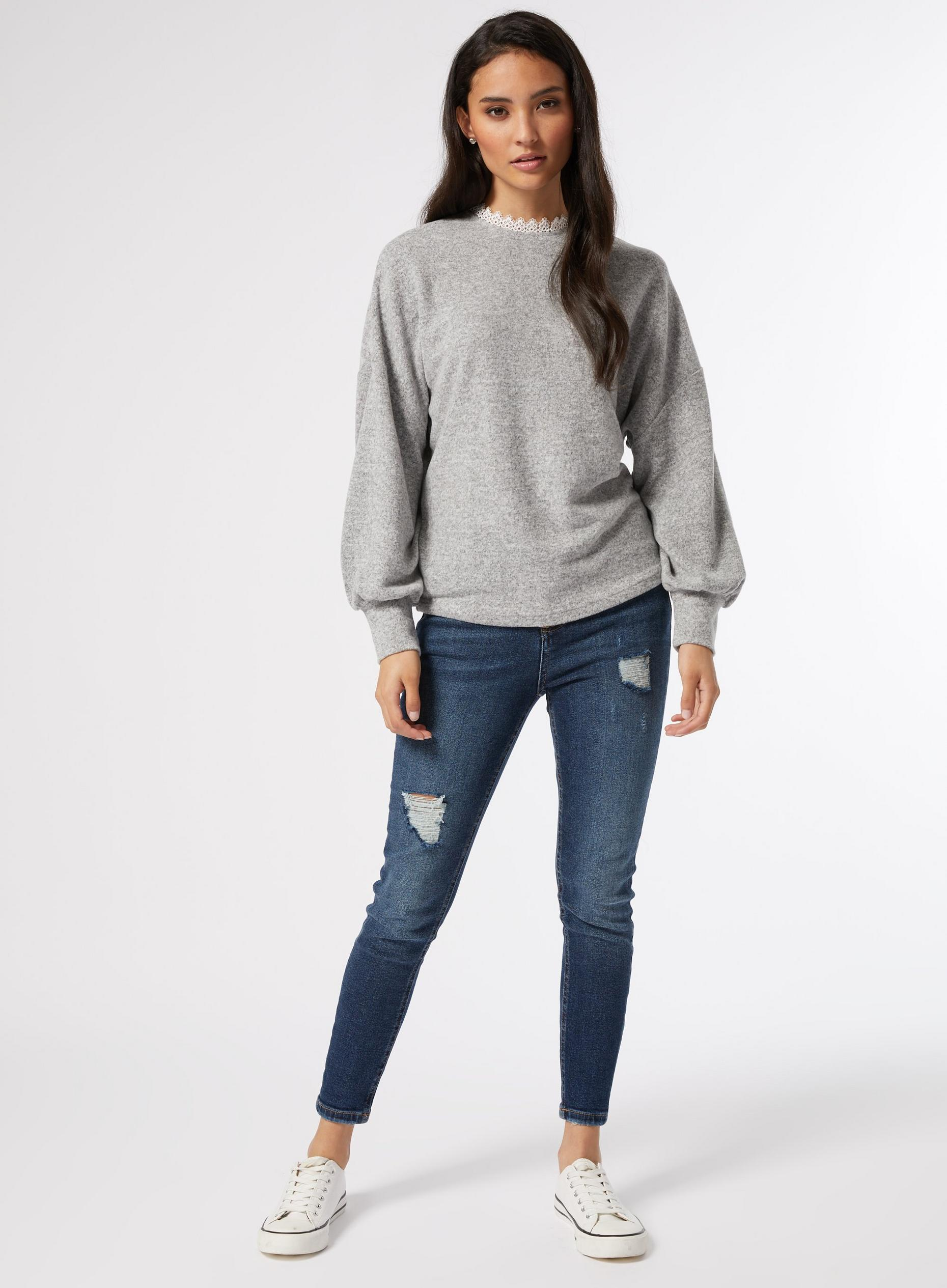 Petite Grey Lace Trim Jumper