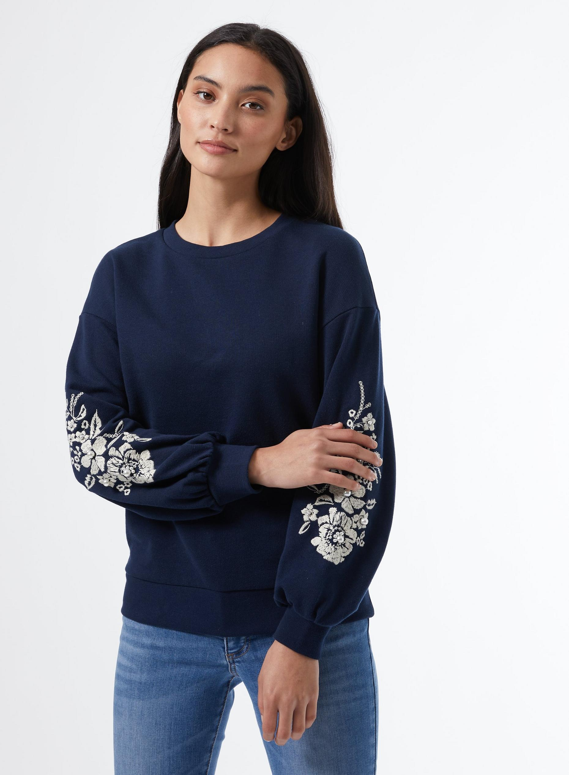 Navy Embroided Sleeve Sweat