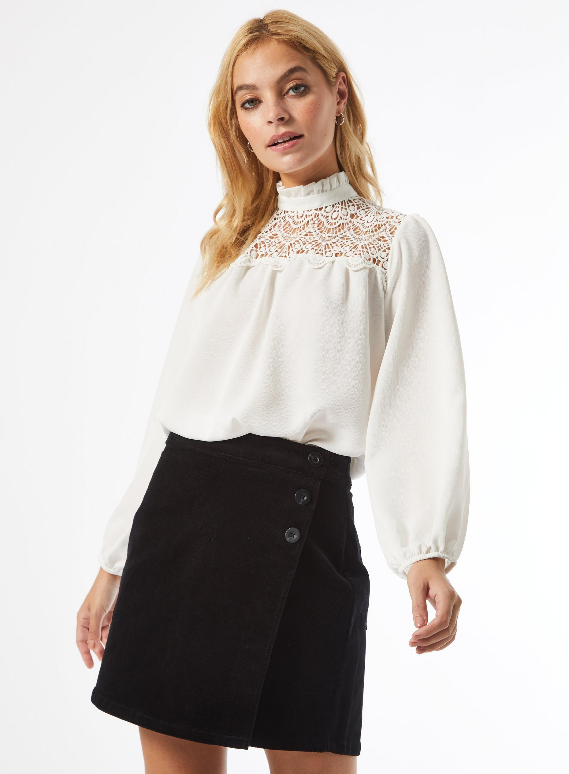 DP Petite Ivory Lace Yoke Top