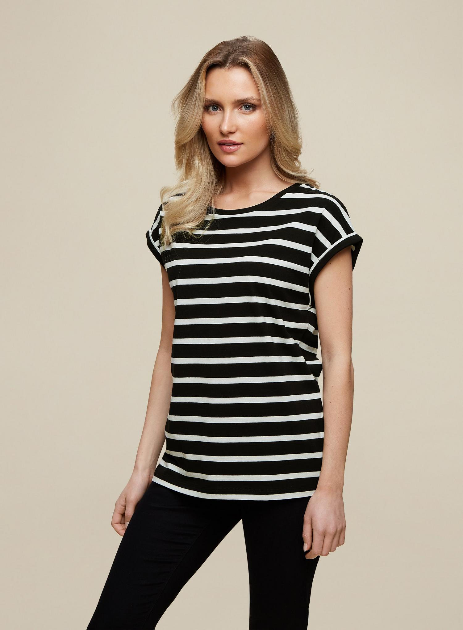 105 Organic Cotton Black Stripe Roll Sleeve  image number 1
