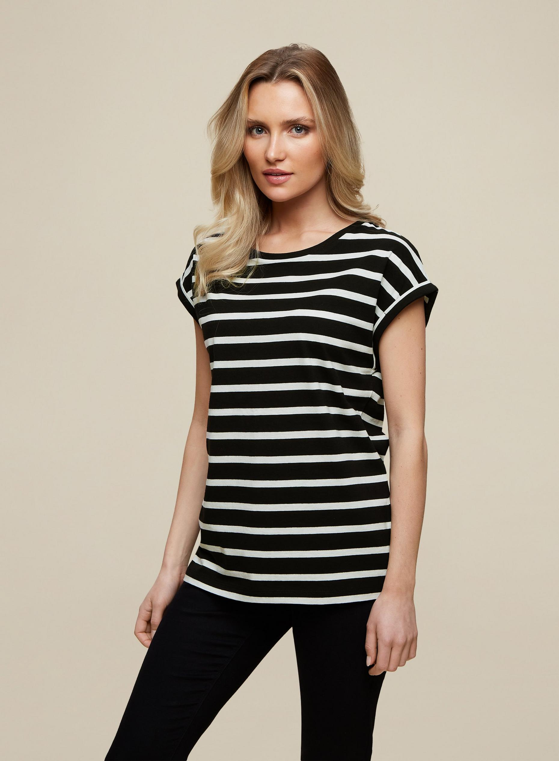 Organic Cotton Black Stripe Roll Sleeve