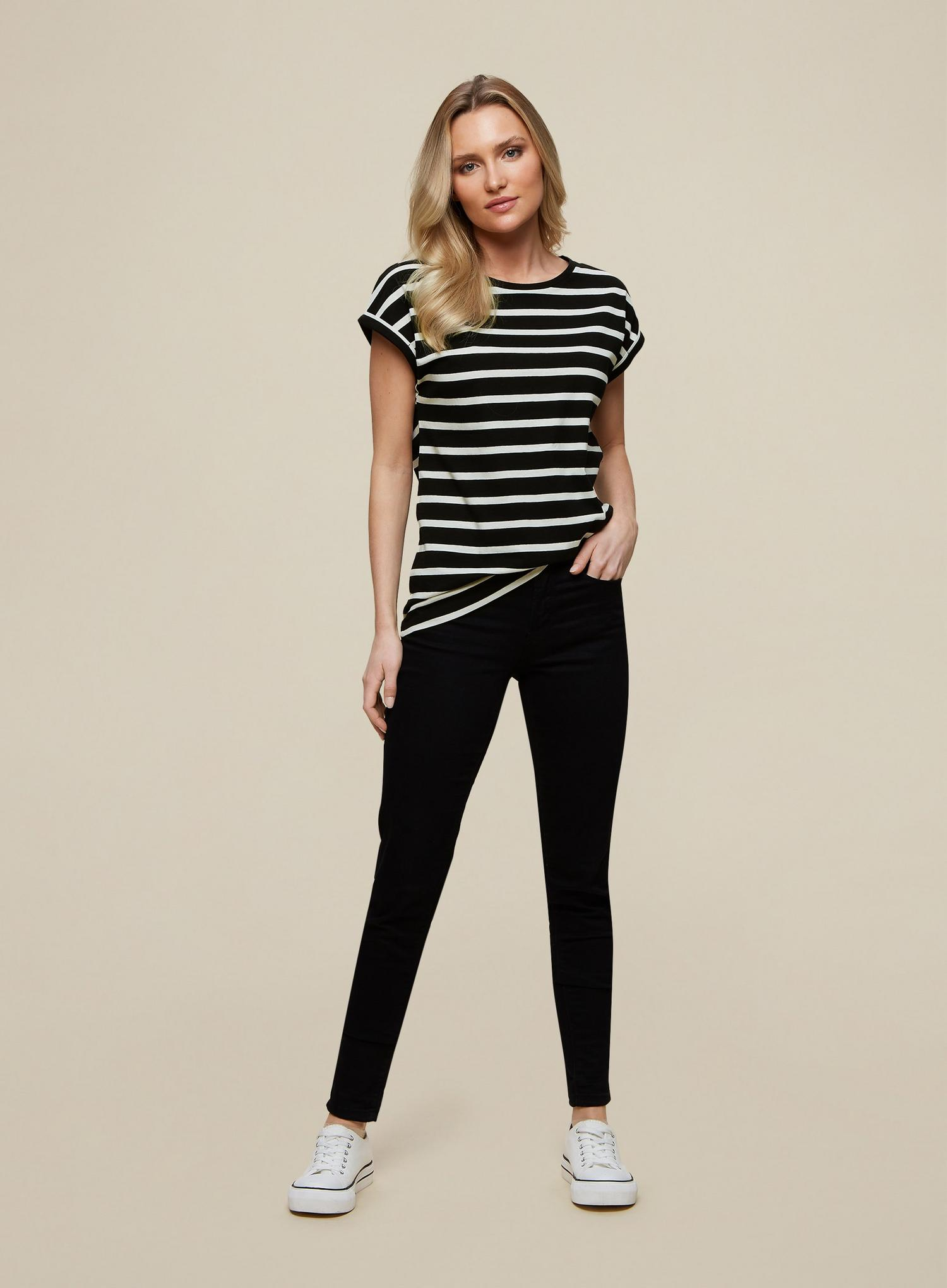 105 Organic Cotton Black Stripe Roll Sleeve  image number 3