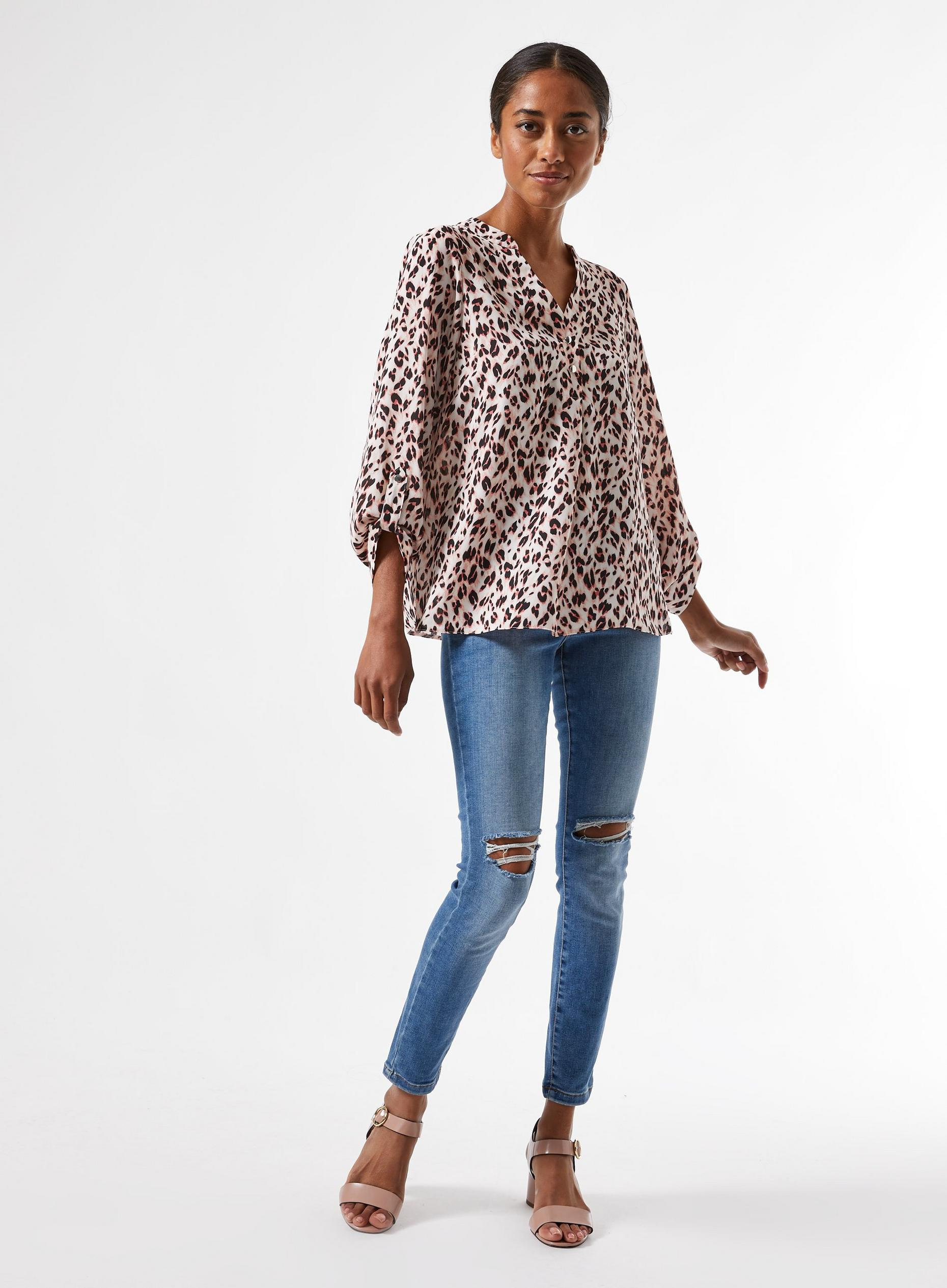 DP Petite Blush Roll Sleeve Shirt