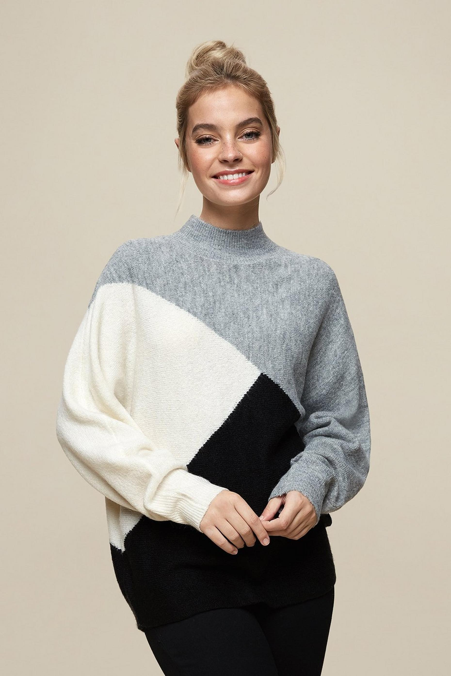 Petites Grey Colour Block Jumper