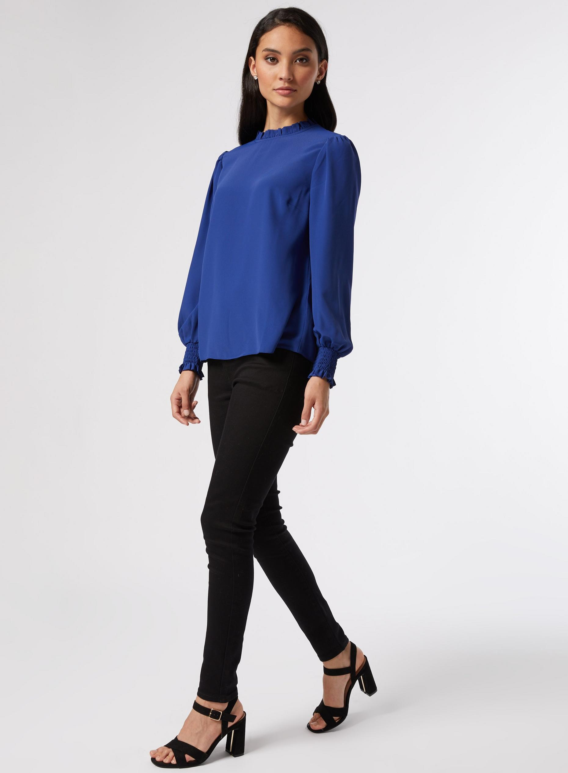 DP Petite Cobalt Shirred Cuff Top