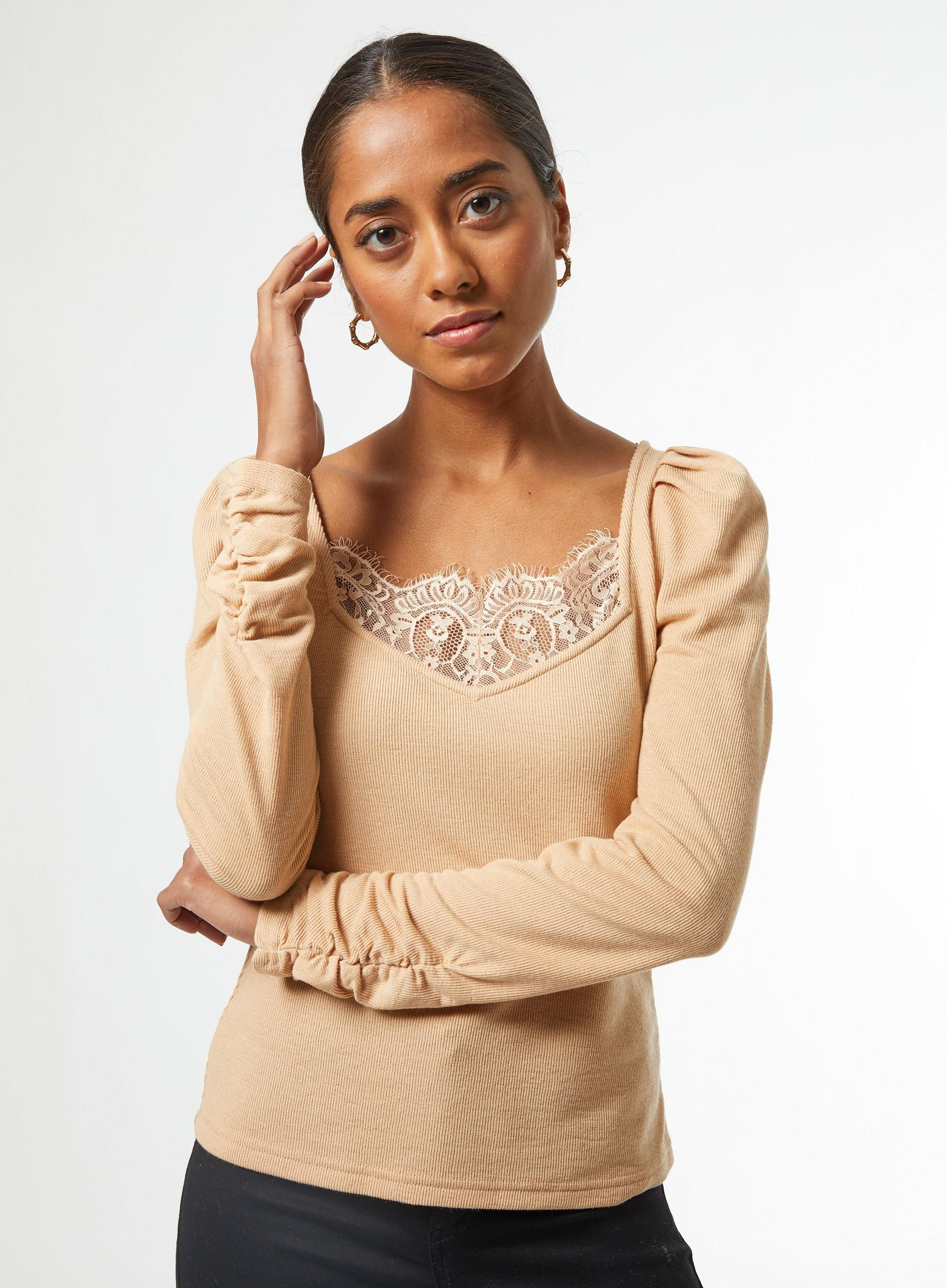 Petites Camel Lace Ribbed Top